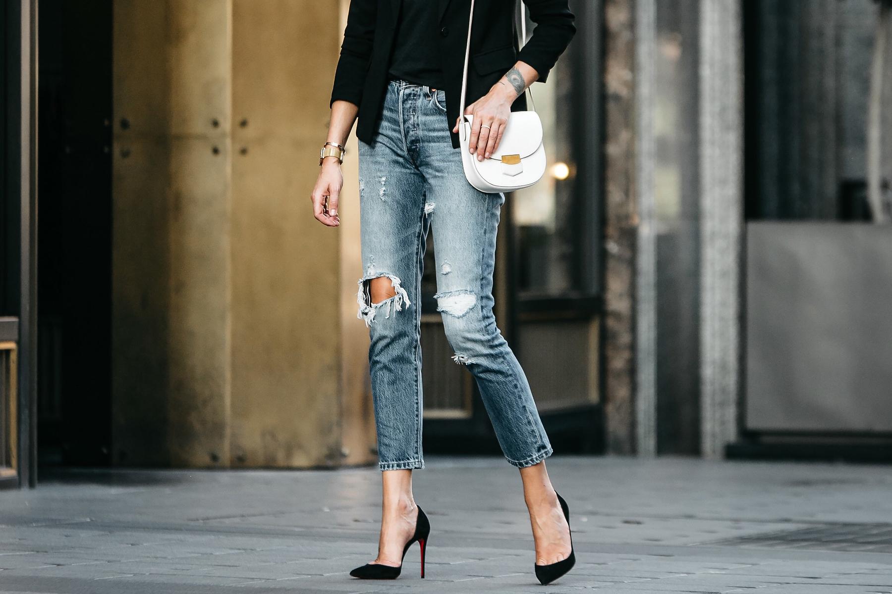 Levis Denim Ripped Jeans Celine Trotteur White Handbag Christian Louboutin Black Pumps Fashion Jackson Dallas Blogger Fashion Blogger Street Style