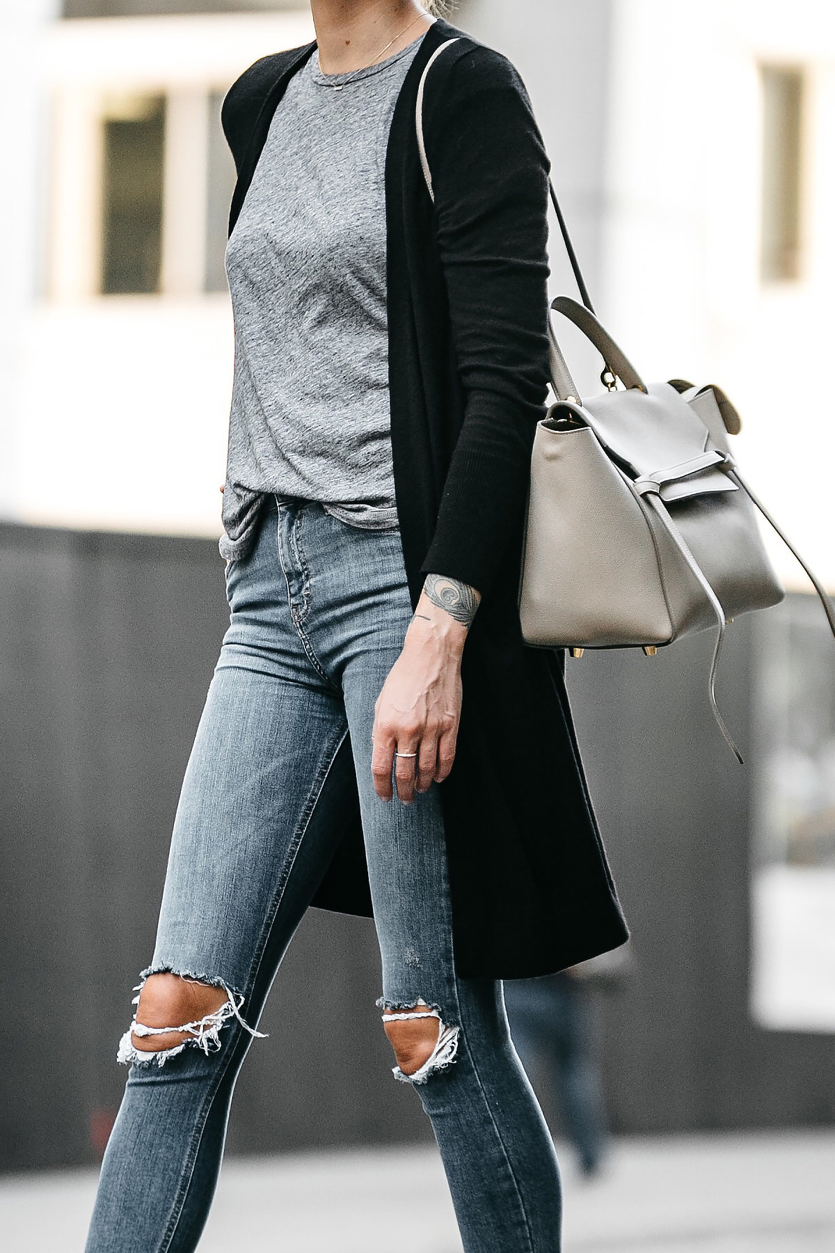 56d409b7c2 Long Black Cardigan Grey Tshirt Topshop Ripped Skinny Jeans Outfit Celine  Belt Bag Fashion Jackson Dallas