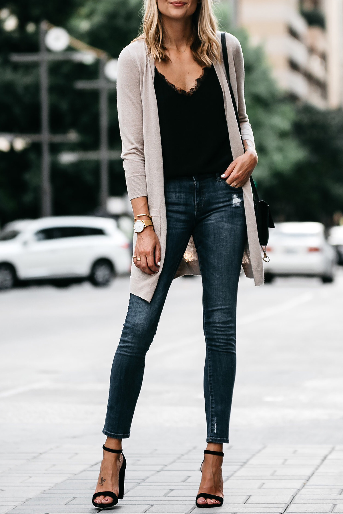 Long Tan Cardigan Black Lace Cami Denim Skinny Jeans Outfit Black Ankle Strap Heeled Sandals Fashion Jackson Dallas Blogger Fashion Blogger