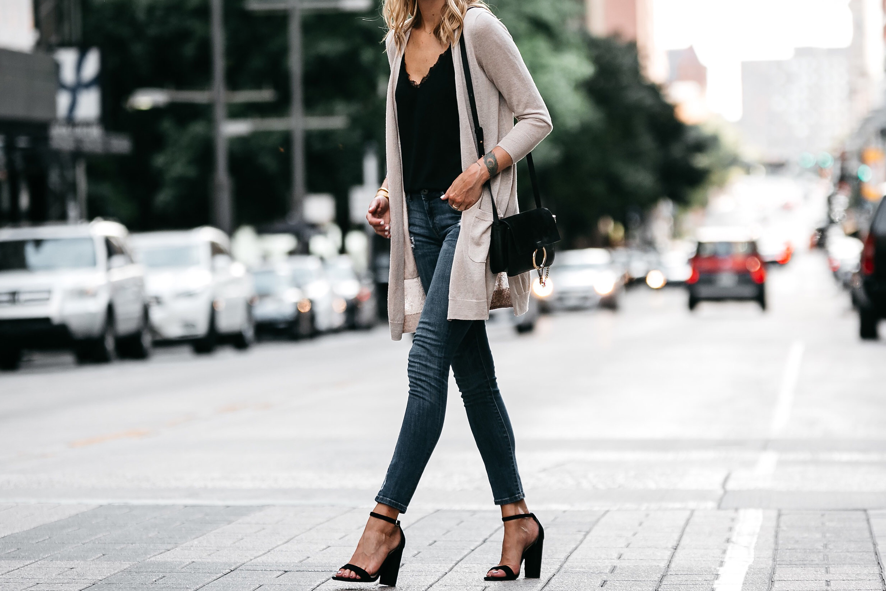 Long Tan Cardigan Black Lace Cami Denim Skinny Jeans Outfit Black Ankle Strap Heeled Sandals Chloe Faye Handbag Fashion Jackson Dallas Blogger Fashion Blogger