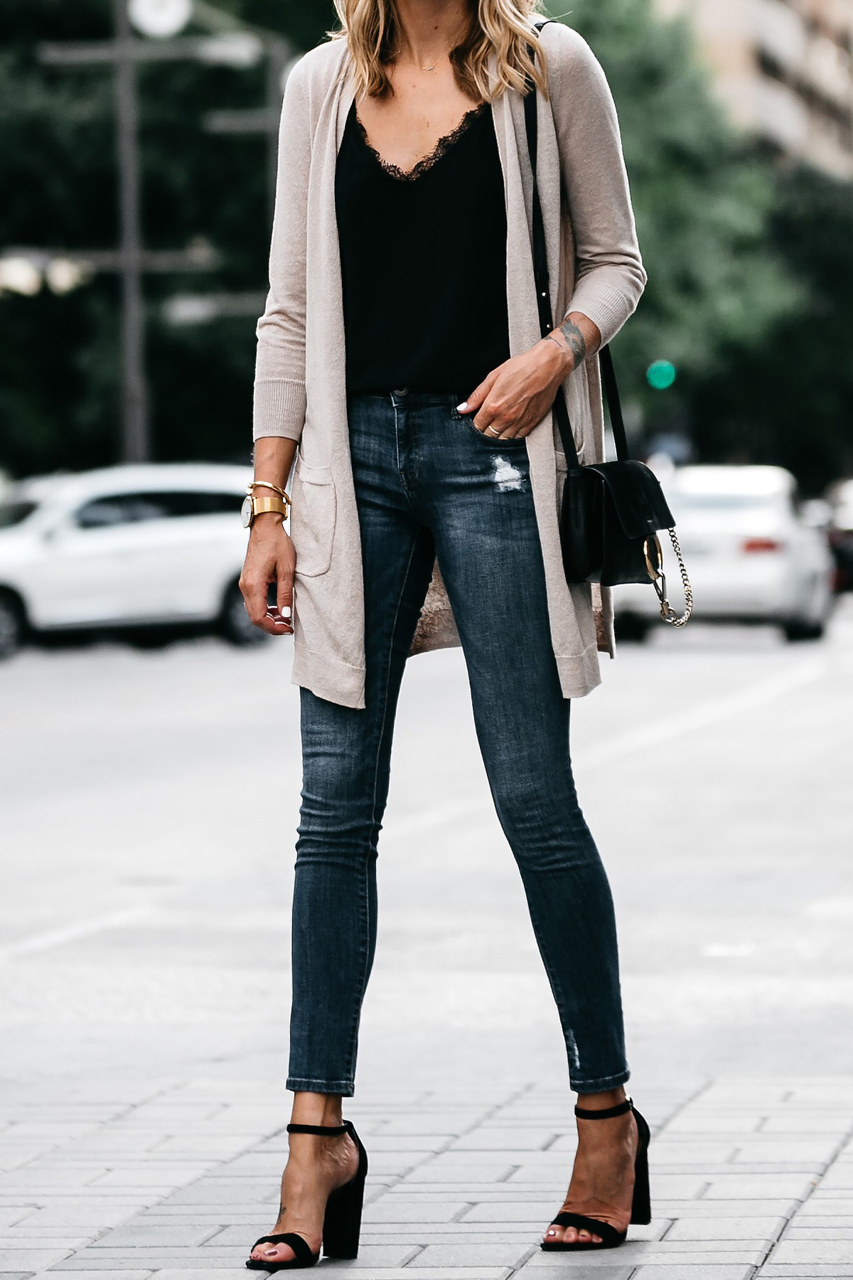 Long Tan Cardigan Black Lace Cami Denim Skinny Jeans Outfit Black Ankle Strap Heeled Sandals Chloe Faye Handbag Fashion Jackson Dallas Blogger Fashion Blogger
