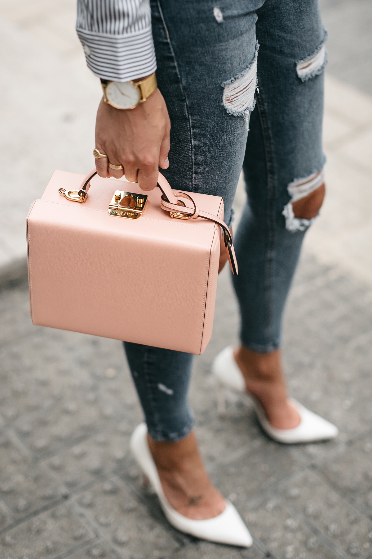 Mark Cross Saffiano Pink Bag Ripped Jeans White Pumps Fashion Jackson Dallas Blogger Fashion Blogger Street Style