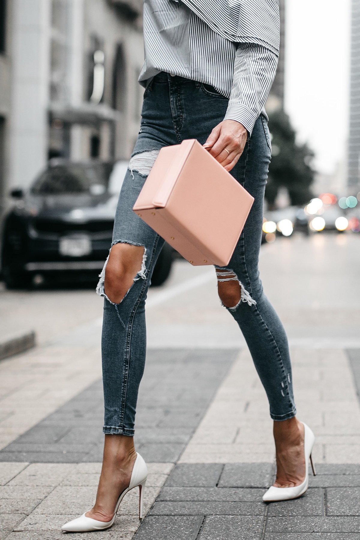 Mark Cross Saffiano Pink Handbag Topshop Denim Ripped Skinny Jeans White Pumps Fashion Jackson Dallas Blogger Fashion Blogger Street Style