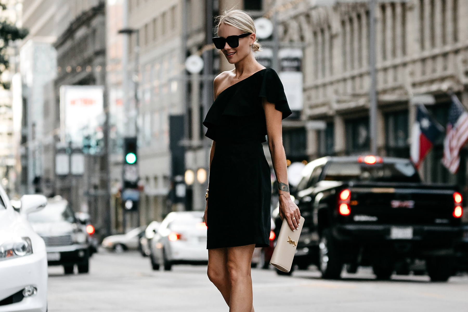Blonde Wearing Nordstrom Black One Shoulder Ruffle Dress Saint Laurent Monogram Clutch Fashion Jackson Dallas Blogger Fashion Blogger Street Style