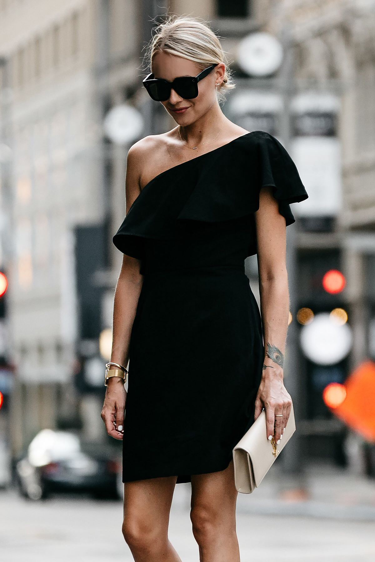 Blonde Wearing Nordstrom Black One Shoulder Ruffle Dress Saint Laurent Monogram Clutch Fashion Jackson Dallas Blogger Fashion Blogger Street Style
