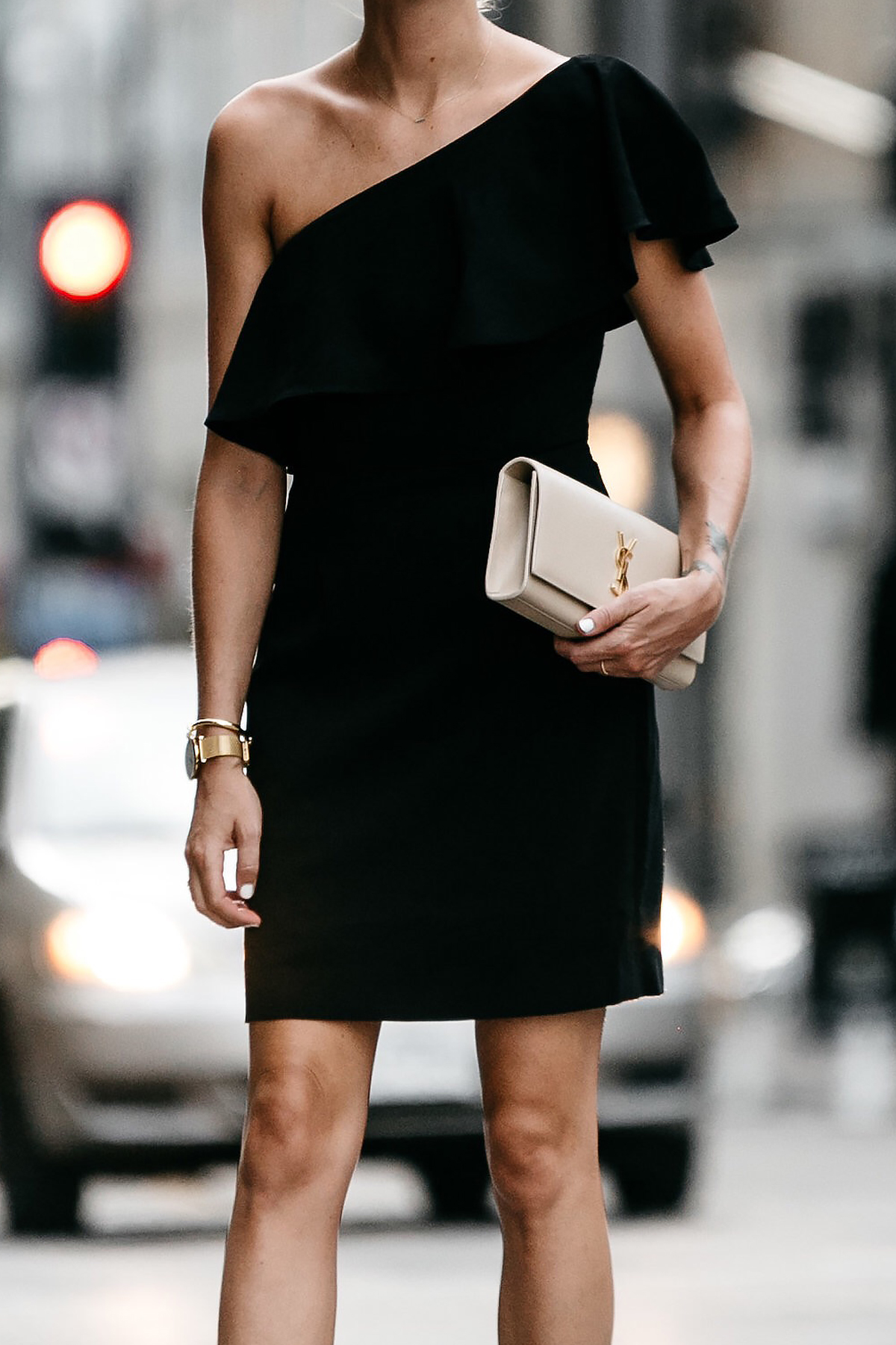 Nordstrom Black One Shoulder Ruffle Dress Saint Laurent Monogram Clutch Fashion Jackson Dallas Blogger Fashion Blogger Street Style