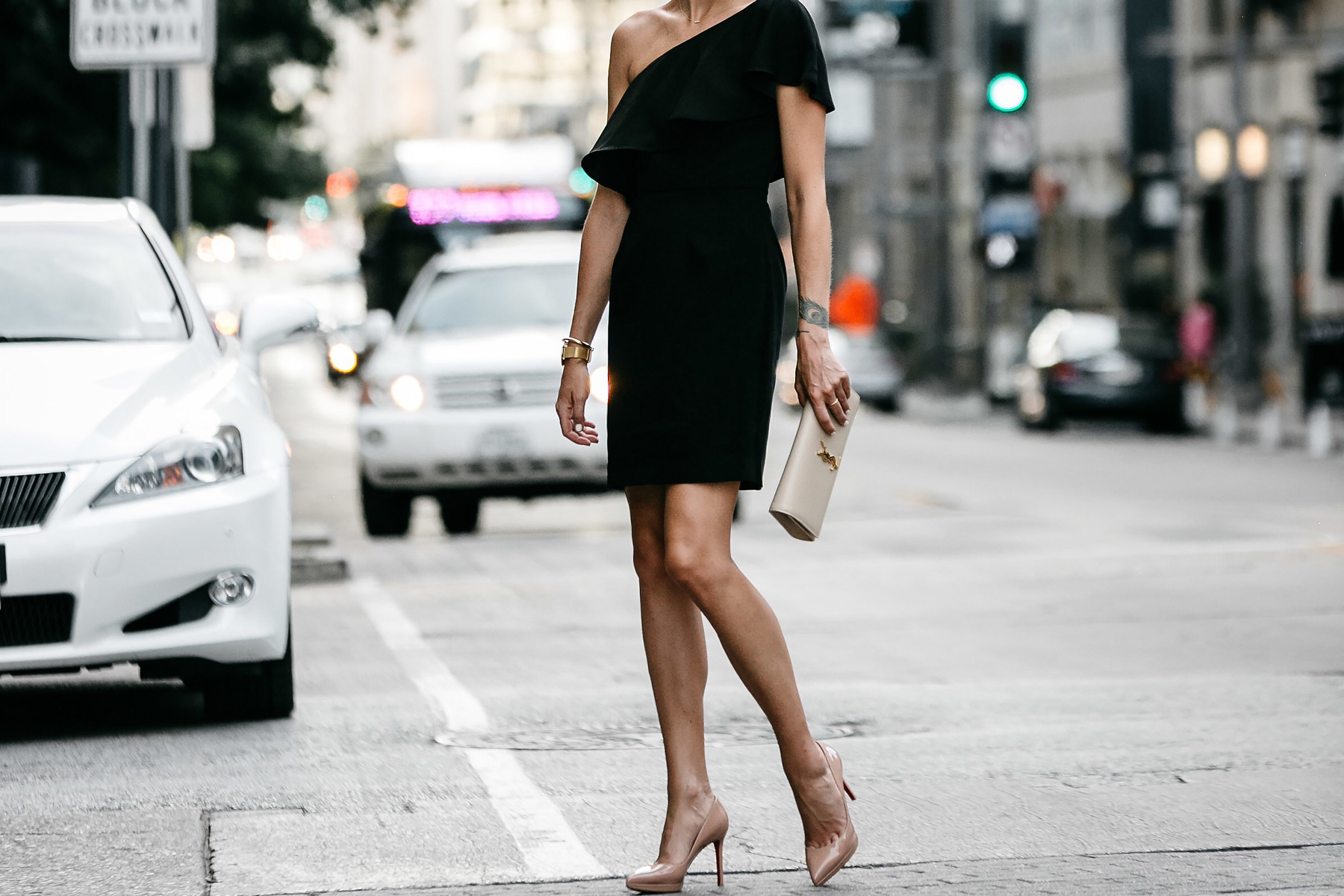Nordstrom Black One Shoulder Ruffle Dress Saint Laurent Monogram Clutch Christian Louboutin Nude Pumps Fashion Jackson Dallas Blogger Fashion Blogger Street Style