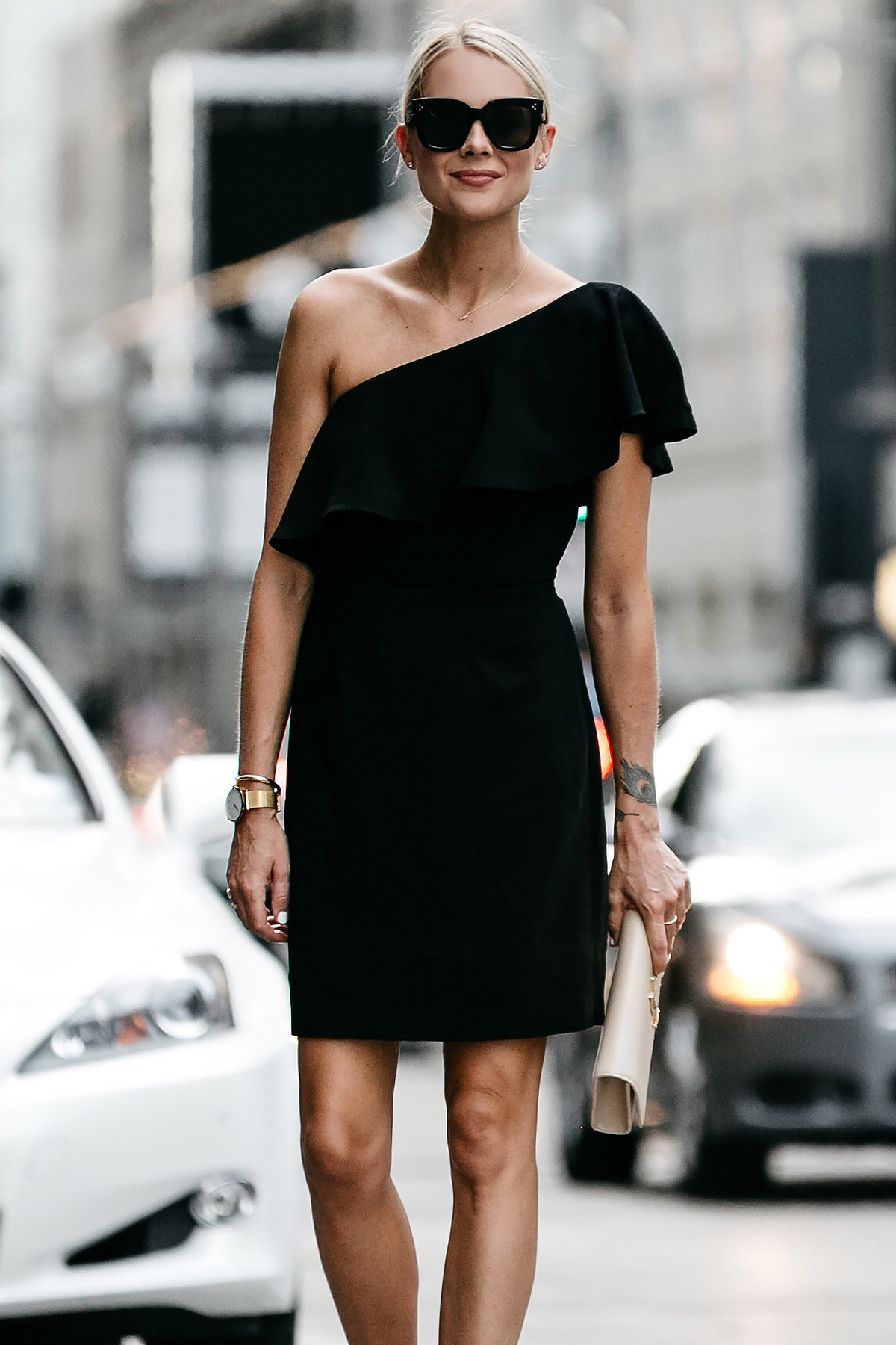 Blonde Wearing Nordstrom Black One Shoulder Ruffle Dress Fashion Jackson Dallas Blogger Fashion Blogger Street Style