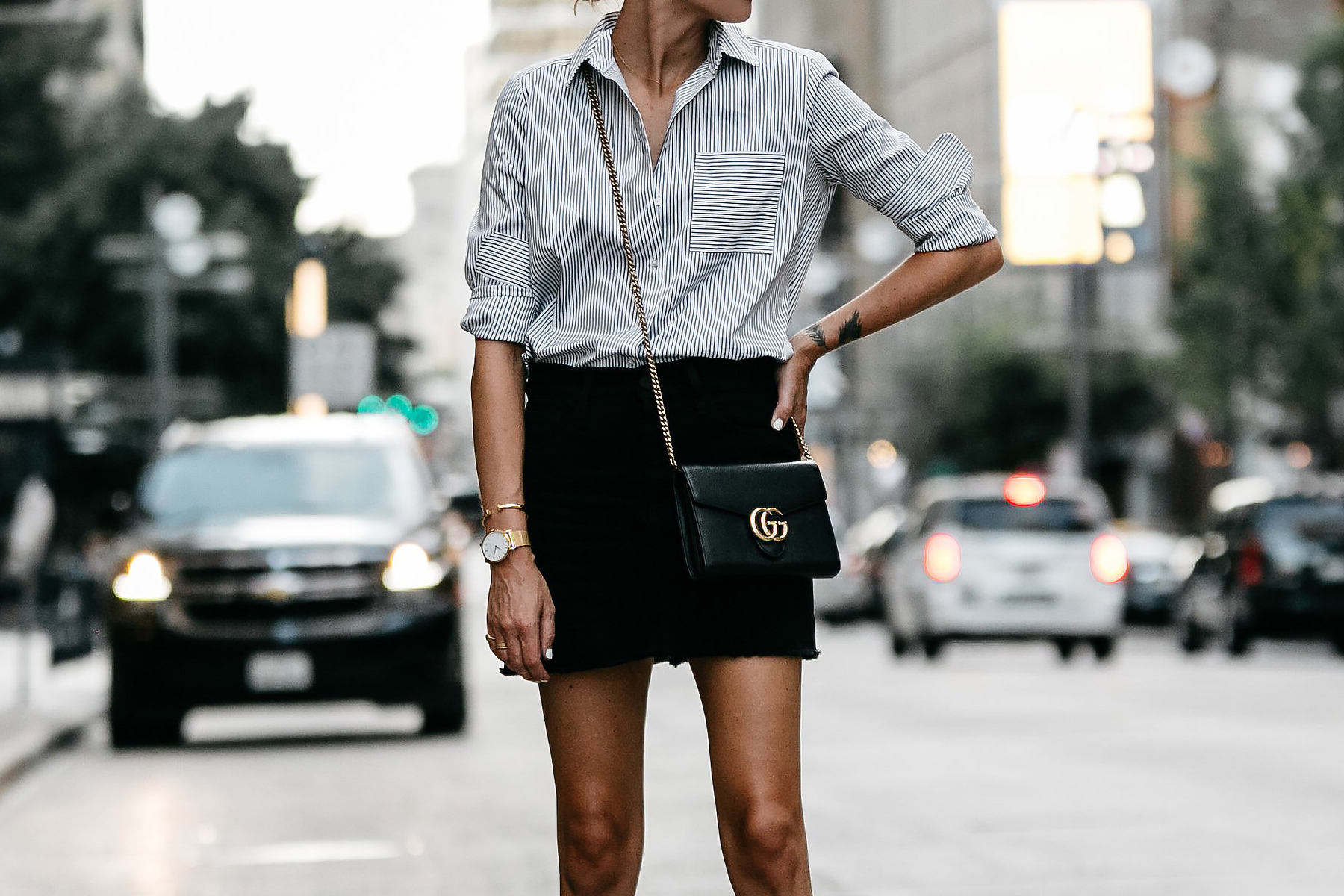 Nordstrom Black and White Stripe Shirt Black Denim Skirt Outfit Gucci Marmont Handbag Fashion Jackson Dallas Blogger Fashion Blogger Street Style
