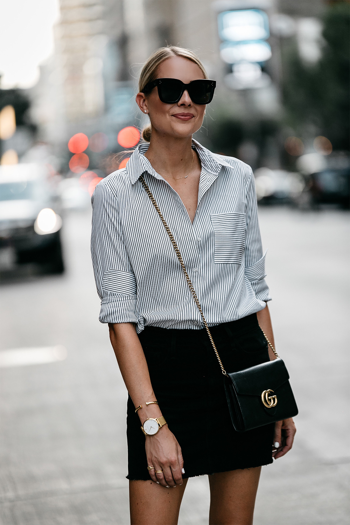 Blonde Wearing Nordstrom Black and White Stripe Shirt Black Denim Skirt Outfit Gucci Marmont Handbag Fashion Jackson Dallas Blogger Fashion Blogger Street Style