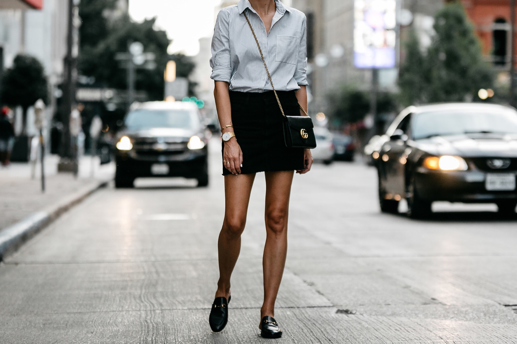 Nordstrom Black and White Stripe Shirt Black Denim Skirt Outfit Gucci Mules Gucci Marmont Handbag Fashion Jackson Dallas Blogger Fashion Blogger Street Style