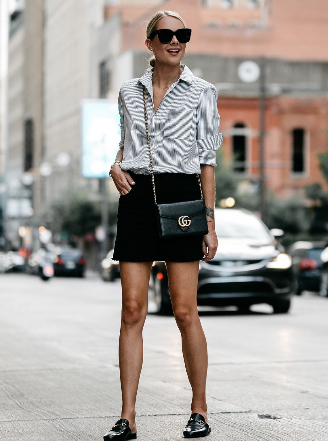 Blonde Wearing Nordstrom Black and White Stripe Shirt Black Denim Skirt Outfit Gucci Mules Gucci Marmont Handbag Fashion Jackson Dallas Blogger Fashion Blogger Street Style