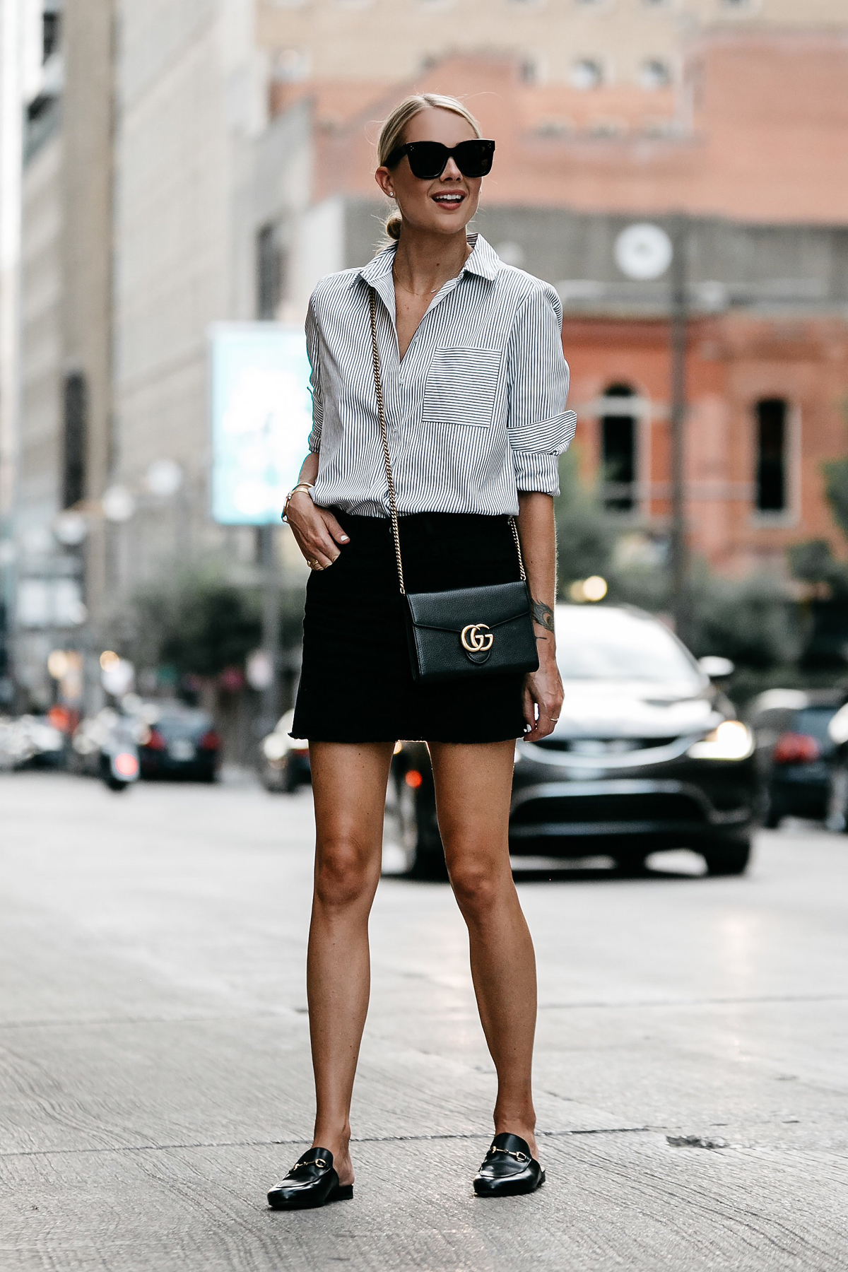 2d29ed4671d Blonde Wearing Nordstrom Black and White Stripe Shirt Black Denim Skirt  Outfit Gucci Mules Gucci Marmont