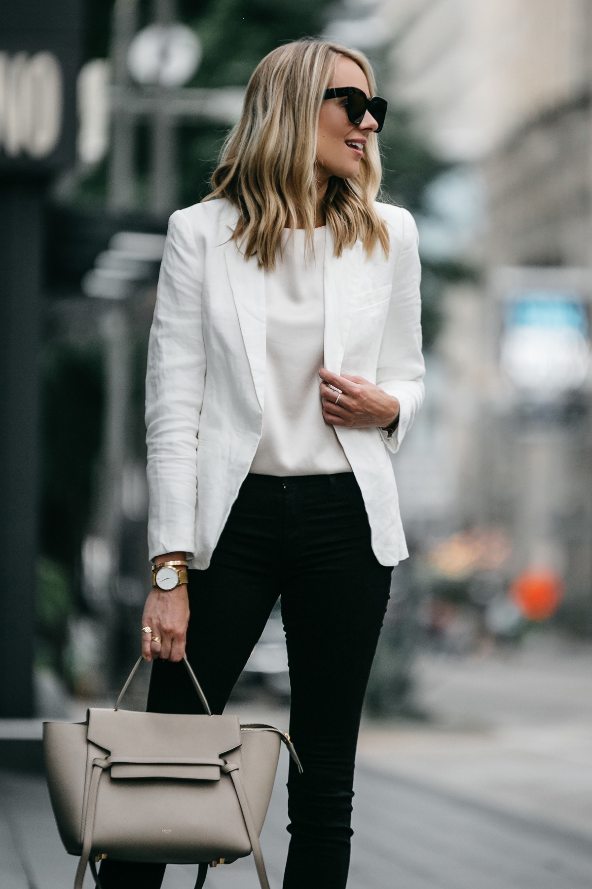 Blonde Woman Wearing Stitch Fix Outfit Joie White Blazer J Brand Black Skinny Jeans Celine Belt Handbag Fashion Jackson Dallas Blogger Fashion Blogger Street Style