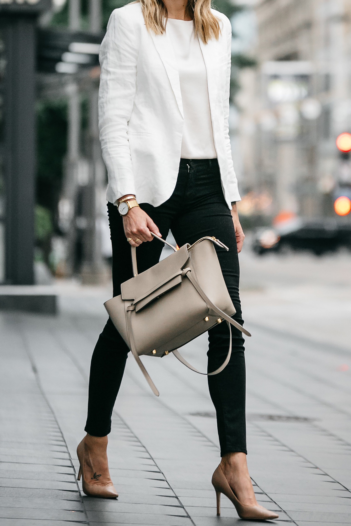 Stitch Fix Outfit Joie White Blazer J Brand Black Skinny Jeans Celine Belt Handbag Nude Pumps Fashion Jackson Dallas Blogger Fashion Blogger Street Style