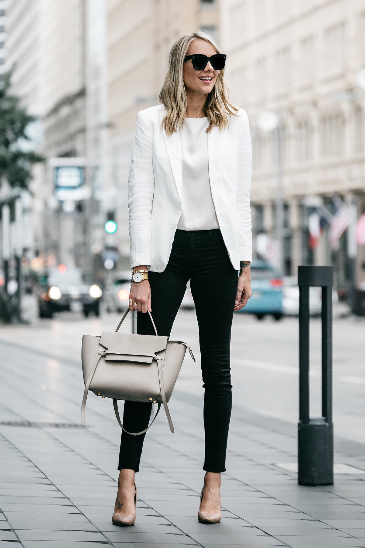 Blonde Woman Wearing Stitch Fix Outfit Joie White Blazer J Brand Black Skinny Jeans Nude Pumps Celine Belt Handbag Fashion Jackson Dallas Blogger Fashion Blogger Street Style