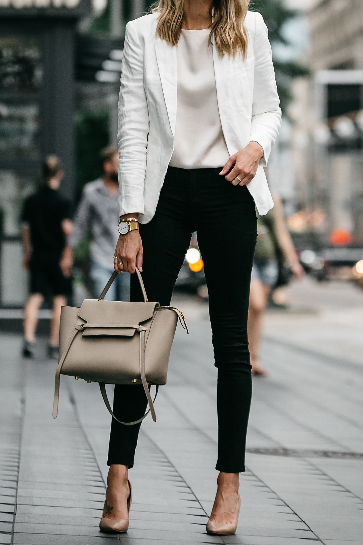 Stitch Fix Outfit Joie White Blazer J Brand Black Skinny Jeans Nude Pumps Celine Belt Handbag Fashion Jackson Dallas Blogger Fashion Blogger Street Style