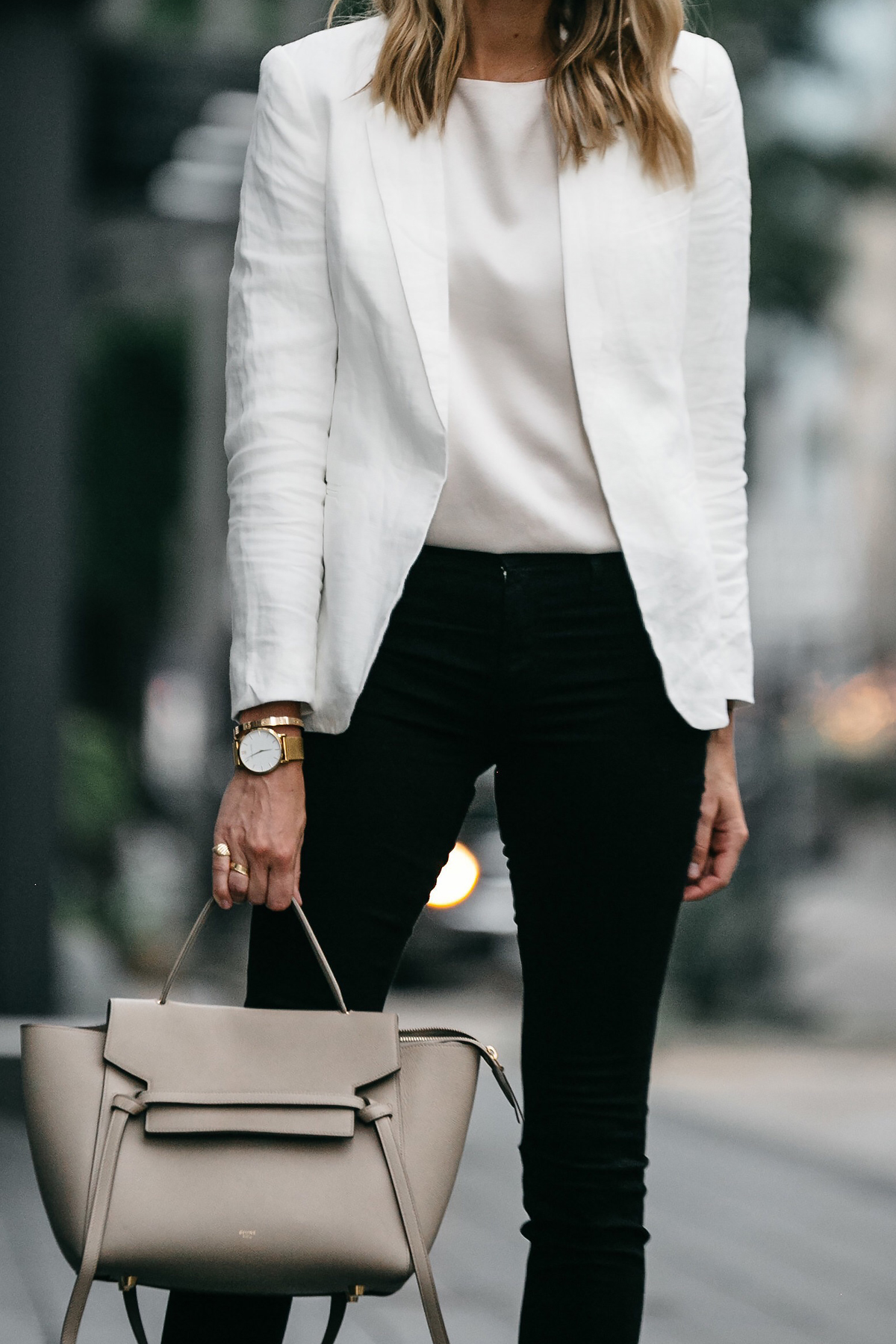 Stitch Fix Outfit Joie White Blazer J Brand Black Skinny Jeans Celine Belt Handbag Fashion Jackson Dallas Blogger Fashion Blogger Street Style