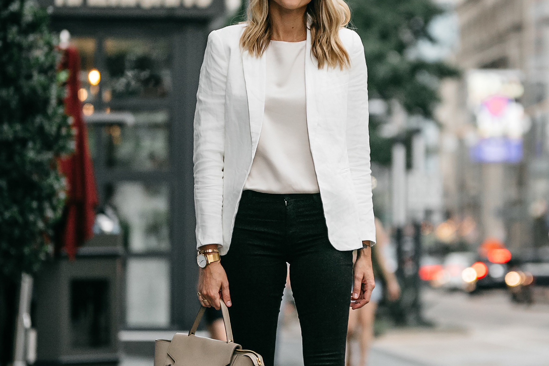 Stitch Fix Outfit Joie White Blazer J Brand Black Skinny Jeans Fashion Jackson Dallas Blogger Fashion Blogger Street Style