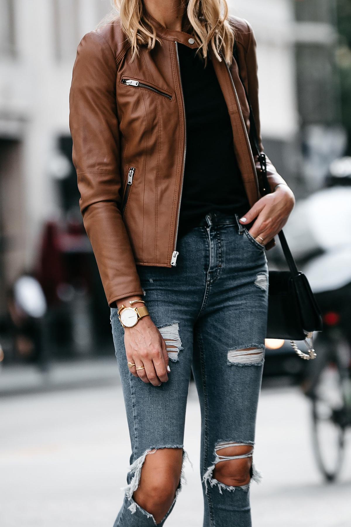 Tan Leather Jacket Black Tshirt Denim Ripped Skinny Jeans Outfit Fashion Jackson Dallas Blogger Fashion Blogger Street Style