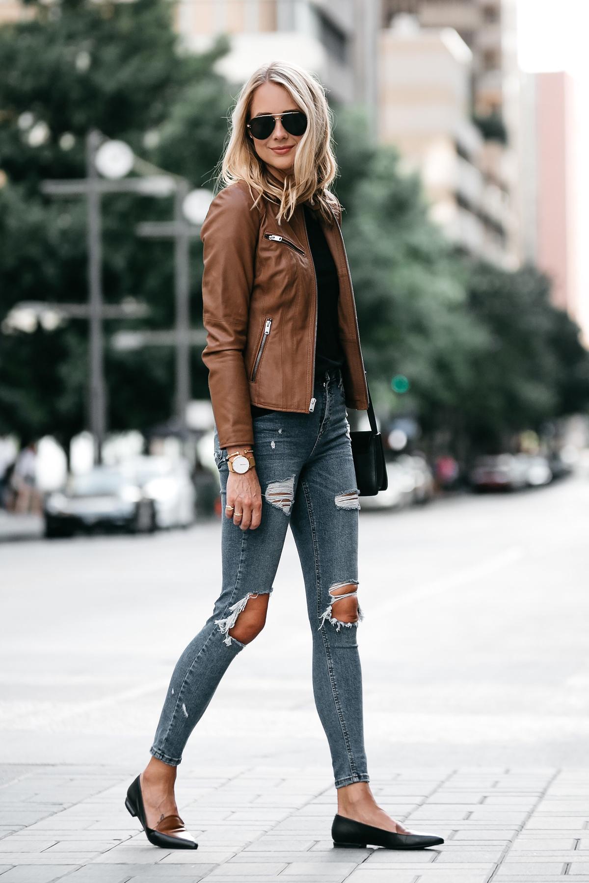 Blonde Woman Wearing Tan Leather Jacket Black Tshirt Denim Ripped Skinny Jeans Outfit Black Tan Loafers Chloe Faye Handbag Fashion Jackson Dallas Blogger Fashion Blogger Street Style