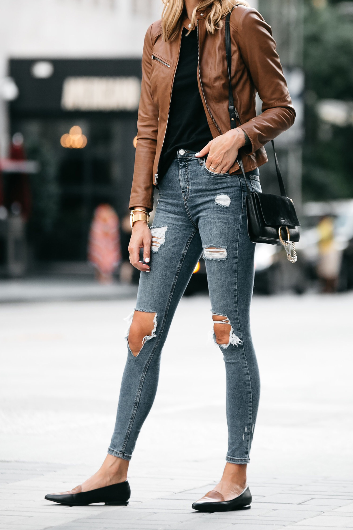 Tan Leather Jacket Black Tshirt Denim Ripped Skinny Jeans Outfit Black Tan Loafers Chloe Faye Handbag Fashion Jackson Dallas Blogger Fashion Blogger Street Style