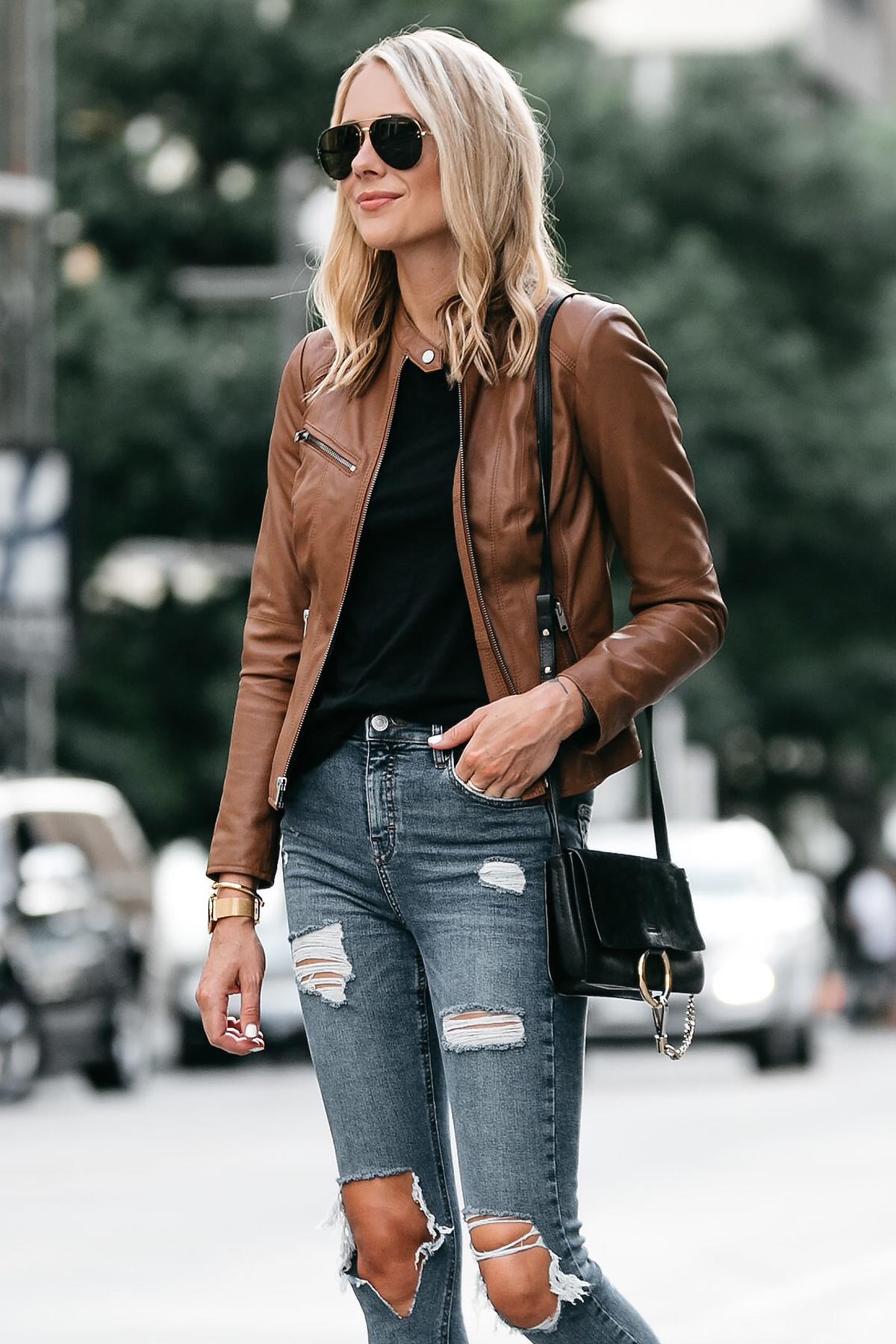 Blonde Woman Wearing Tan Leather Jacket Black Tshirt Denim Ripped Skinny Jeans Outfit Chloe Faye Handbag Fashion Jackson Dallas Blogger Fashion Blogger Street Style