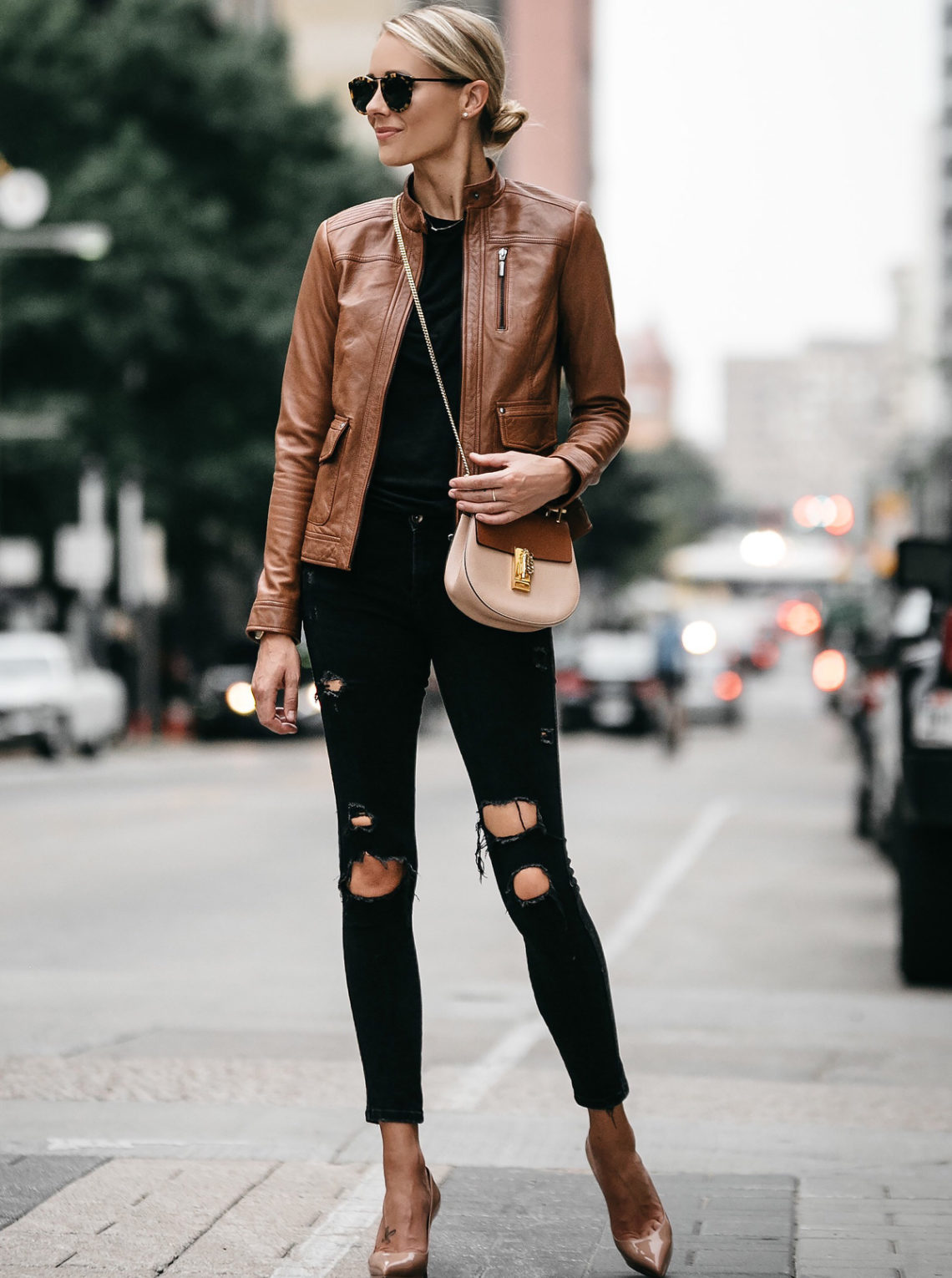 Blonde Woman Wearing Tan Leather Moto Jacket Black Ripped Skinny Jeans Outfit Chloe Drew Handbag Christian Louboutin Nude Pumps Fashion Jackson Dallas Blogger Fashion Blogger Street Style