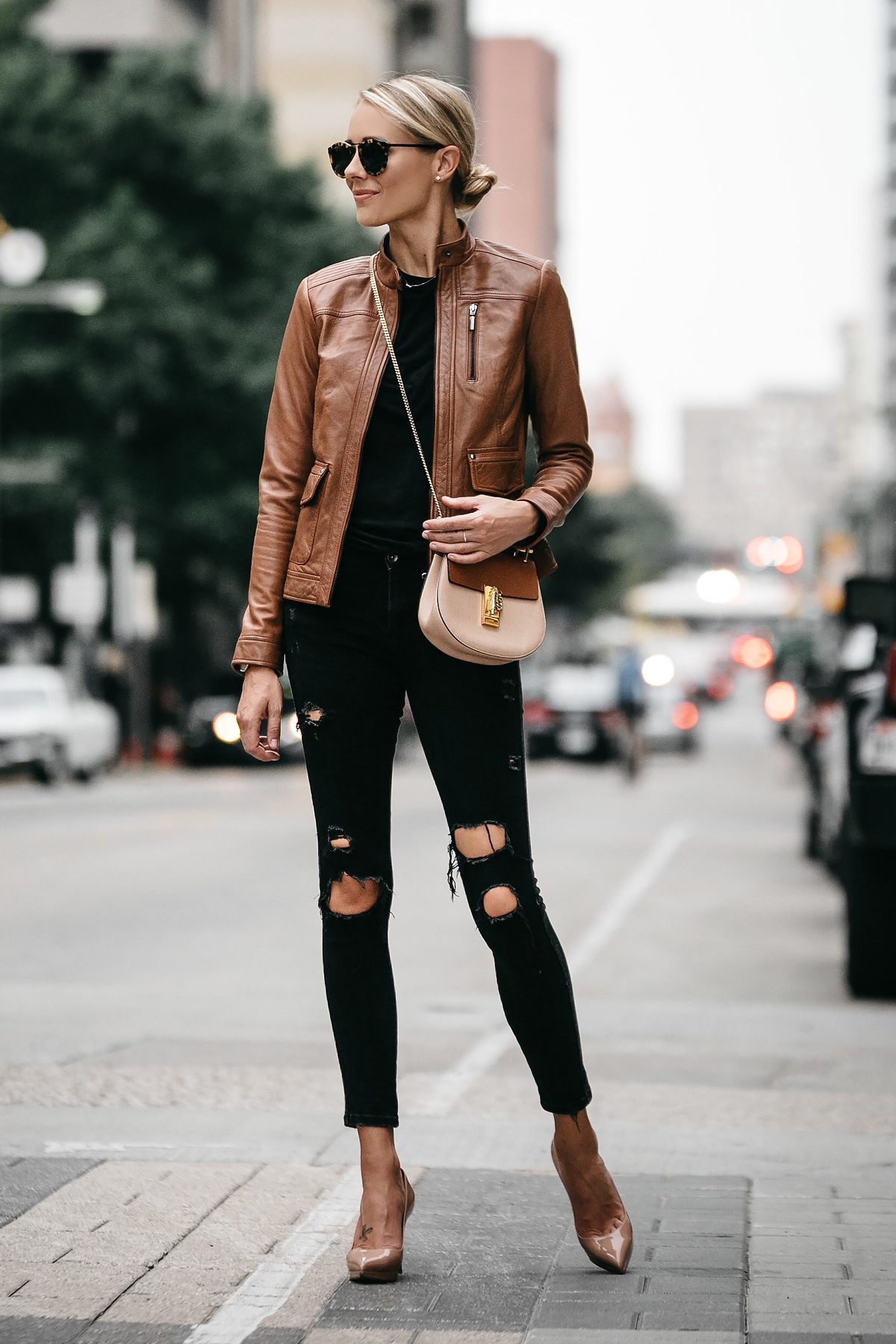 A Chic Way To Wear A Tan Leather Moto Jacket  Fashion Jackson-7732