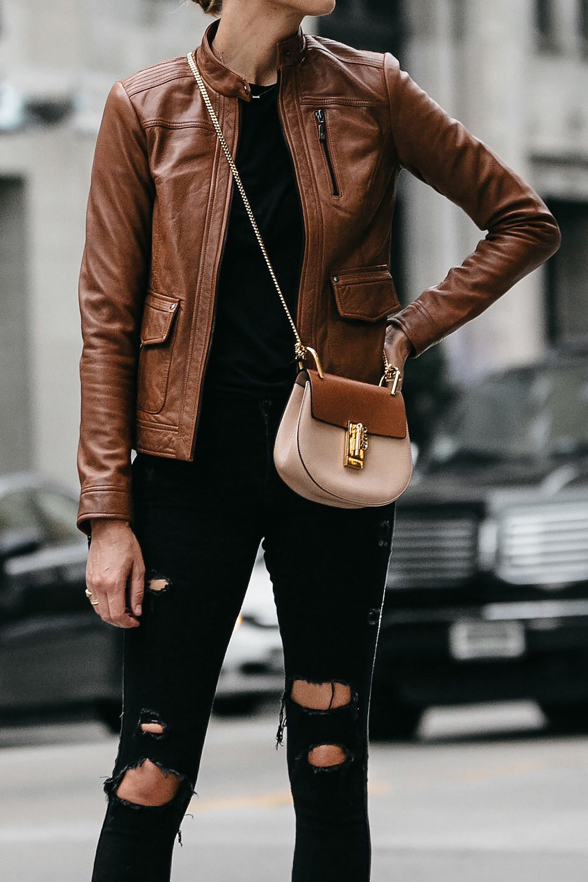 Tan Leather Moto Jacket Black Ripped Skinny Jeans Outfit Chloe Drew Handbag Fashion Jackson Dallas Blogger Fashion Blogger Street Style