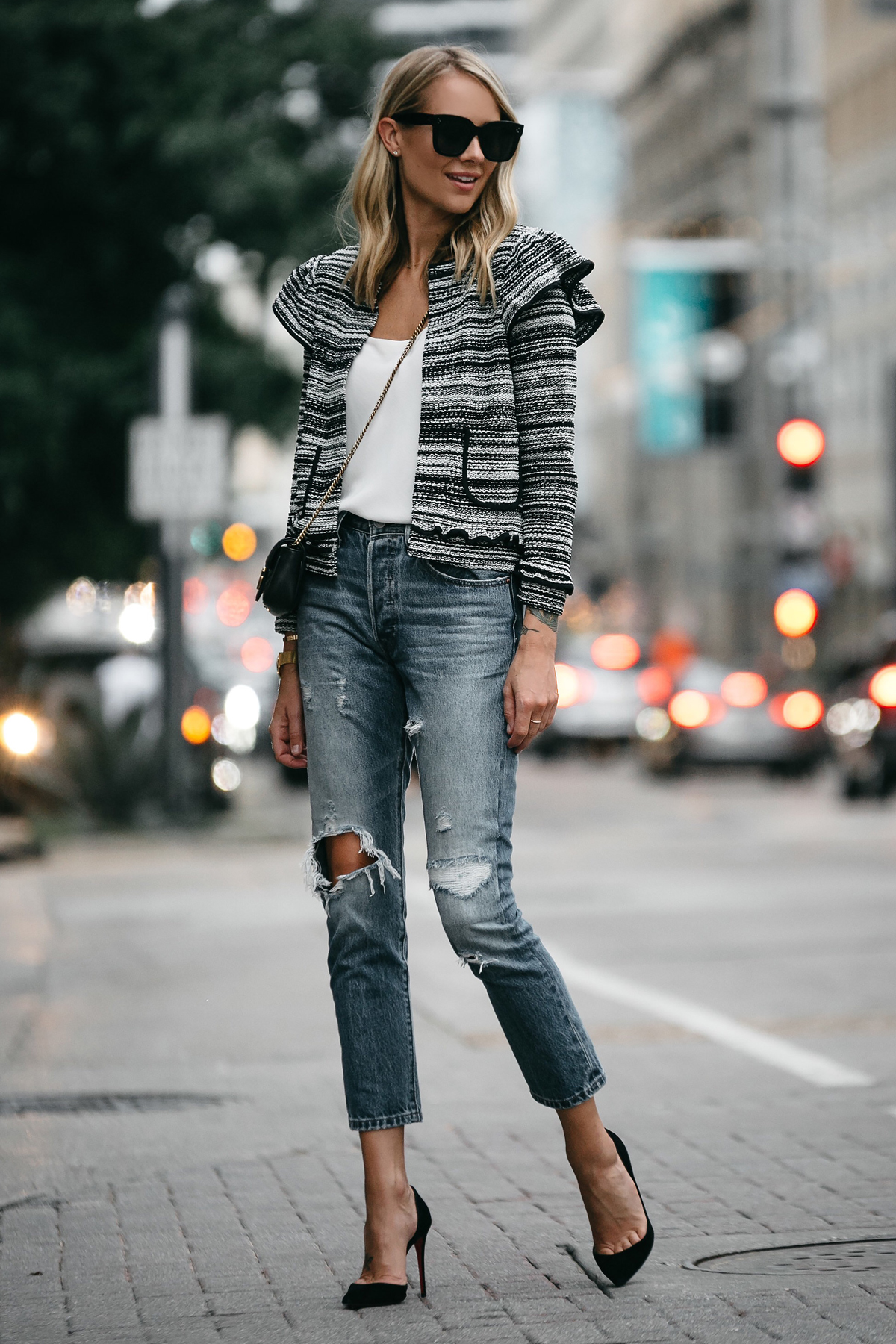Blonde Woman Wearing Club Monaco Tweed Jacket Denim Ripped Jeans Gucci Mini Marmont Handbag Black Pumps Fashion Jackson Dallas Blogger Fashion Blogger Street Style