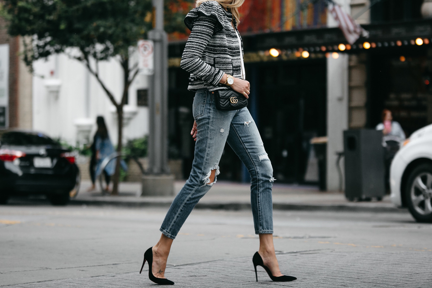 Club Monaco Tweed Jacket Denim Ripped Jeans Gucci Mini Marmont Handbag Black Pumps Fashion Jackson Dallas Blogger Fashion Blogger Street Style