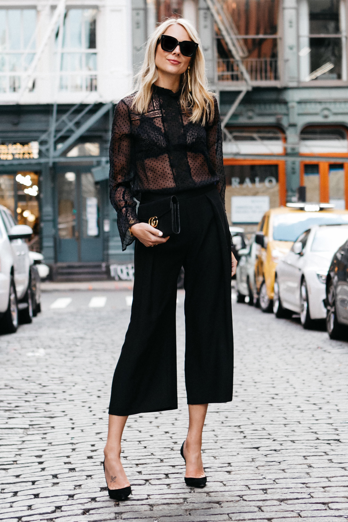 Blonde Woman Wearing Anine Bing Black Lace Top Black Bra Black Culottes Christian Louboutin Black Pumps Gucci Marmont Handbag Fashion Jackson Dallas Blogger Fashion Blogger Street Style NYFW