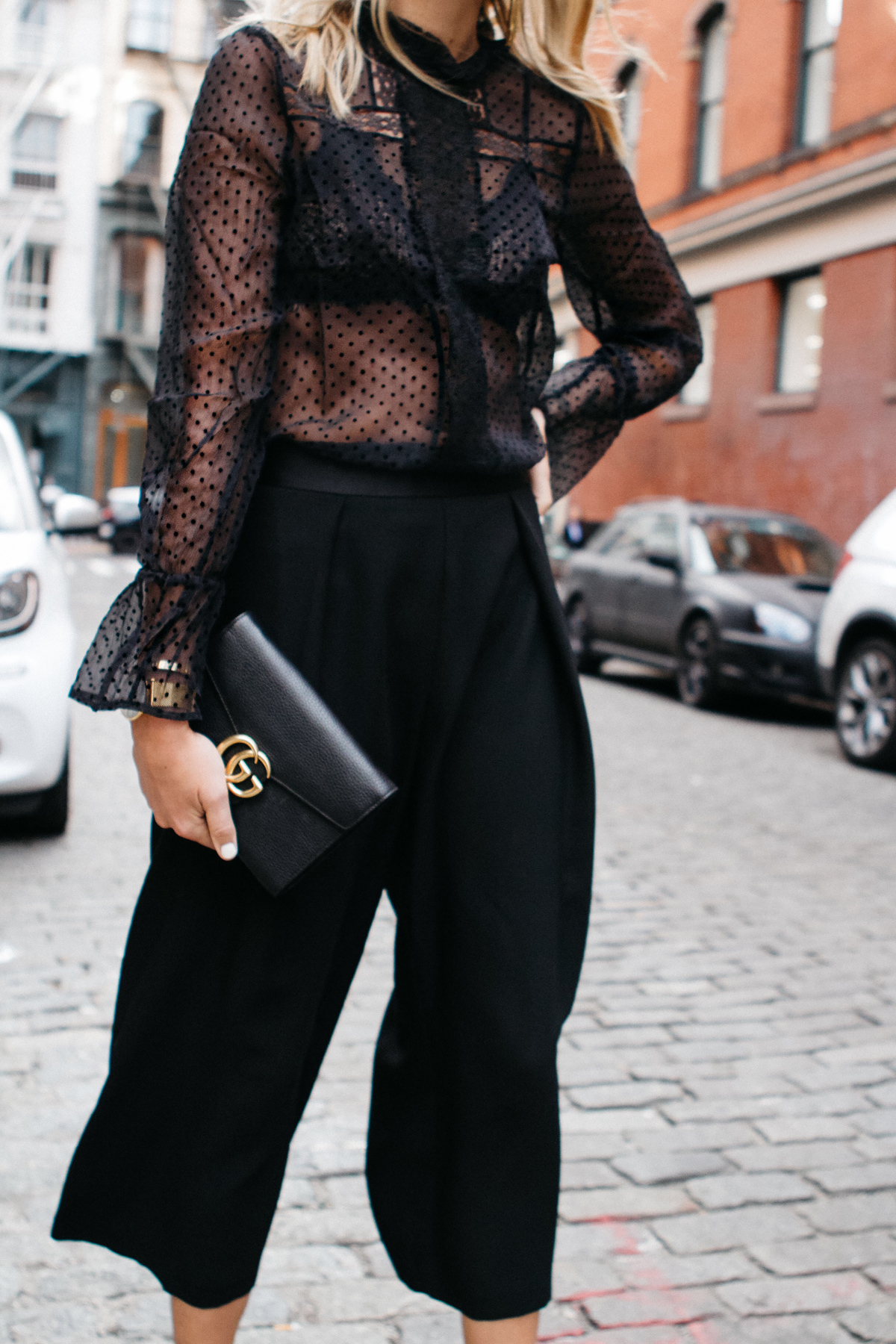 Anine Bing Black Lace Top Black Bra Black Culottes Fashion Jackson Dallas Blogger Fashion Blogger Street Style NYFW