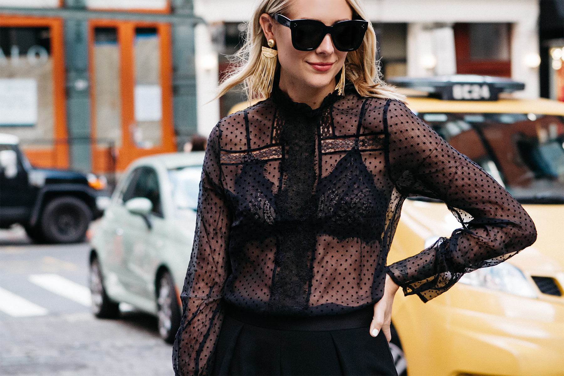 Blonde Woman Wearing Anine Bing Black Lace Top Black Bra Fashion Jackson Dallas Blogger Fashion Blogger Street Style NYFW