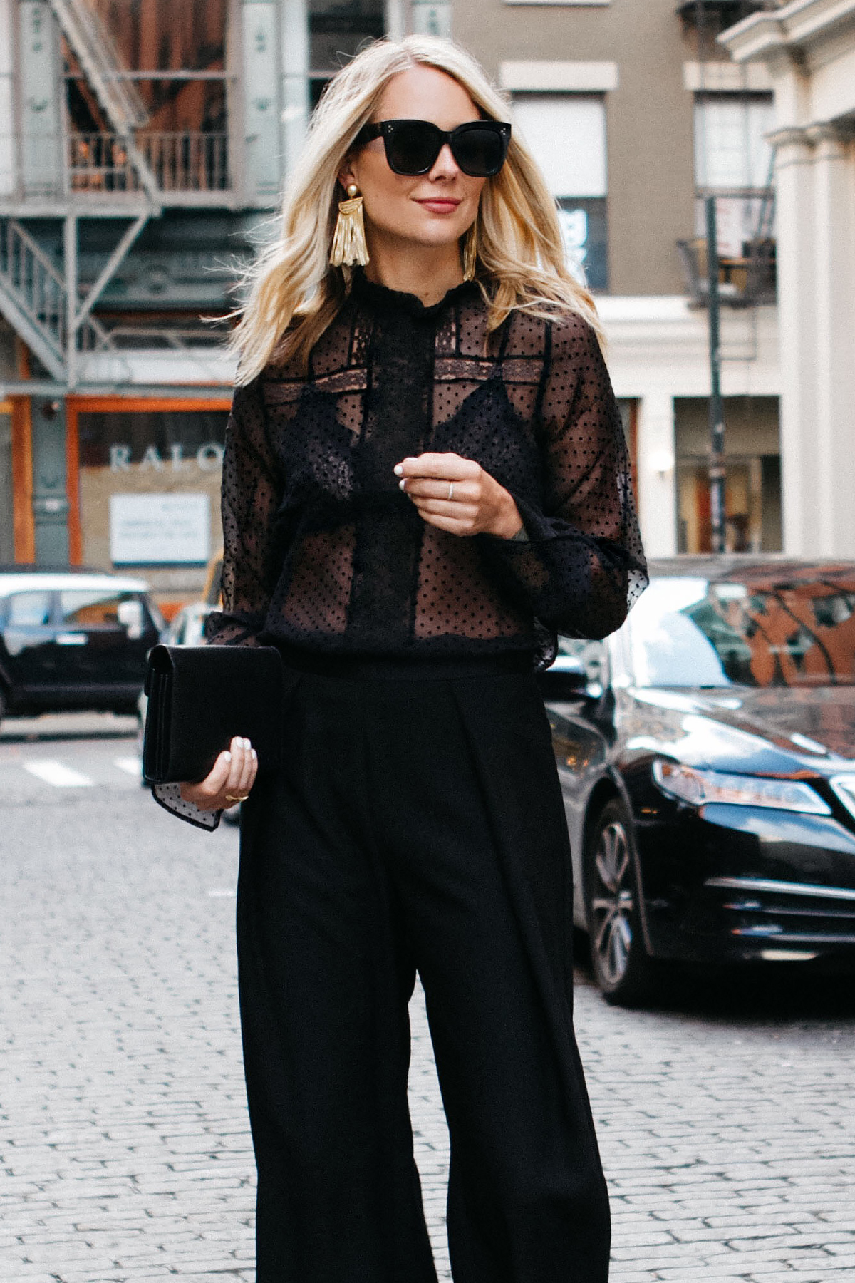 Blonde Woman Wearing Anine Bing Black Lace Top Black Culottes Fashion Jackson Dallas Blogger Fashion Blogger Street Style NYFW