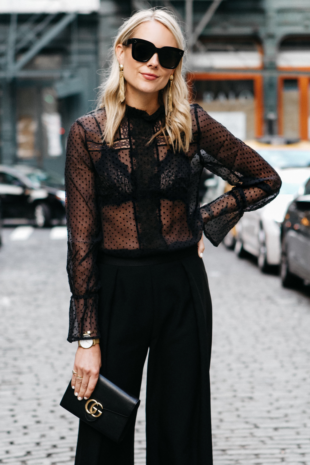 Blonde Woman Wearing Anine Bing Black Lace Top Black Lace Bra Gucci Marmont Handbag Black Culottes Fashion Jackson Dallas Blogger Fashion Blogger Street Style NYFW