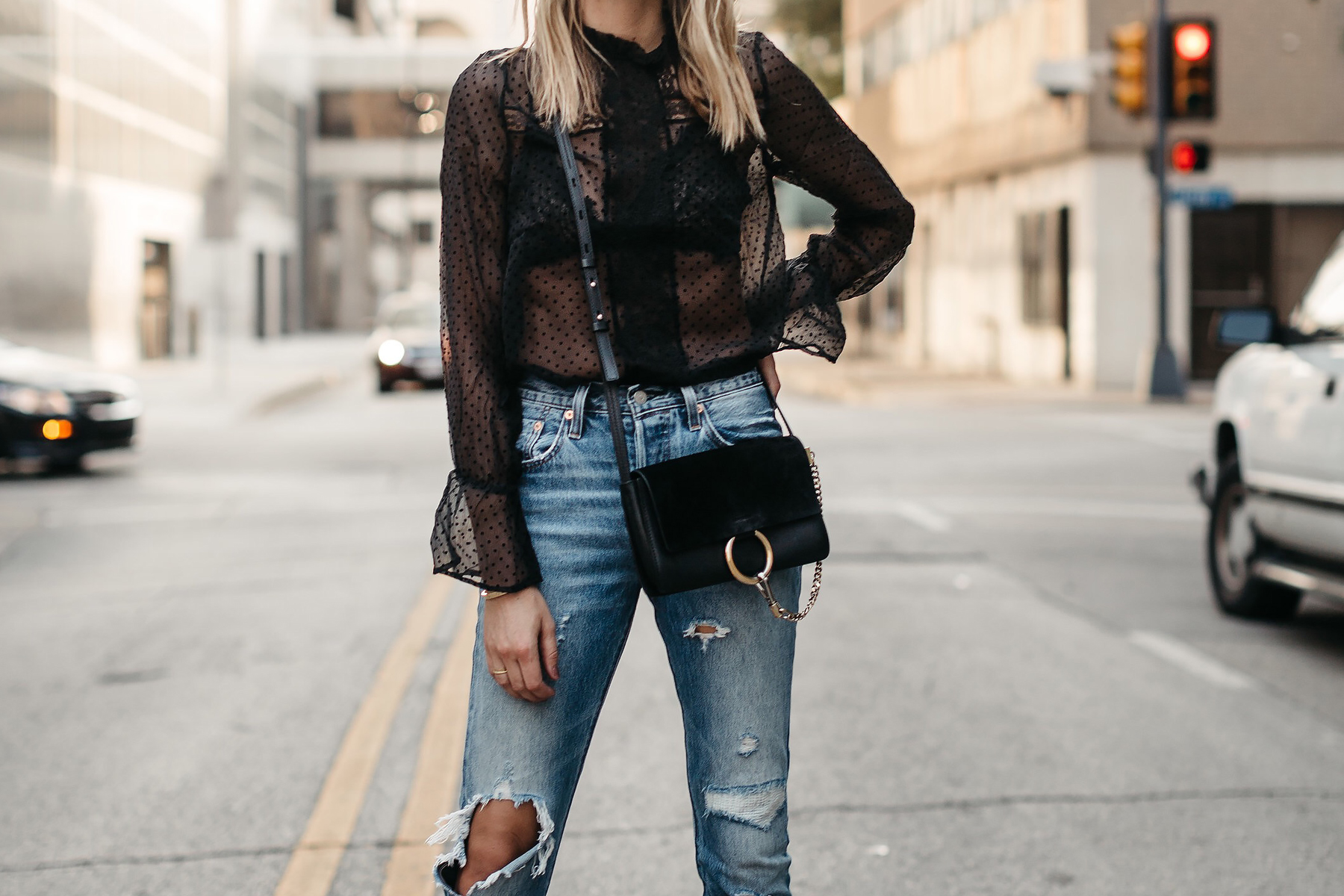 Anine Bing Black Lace Top Chloe Faye Black Handbag Denim Ripped Jeans Fashion Jackson Dallas Blogger Fashion Blogger Street Style