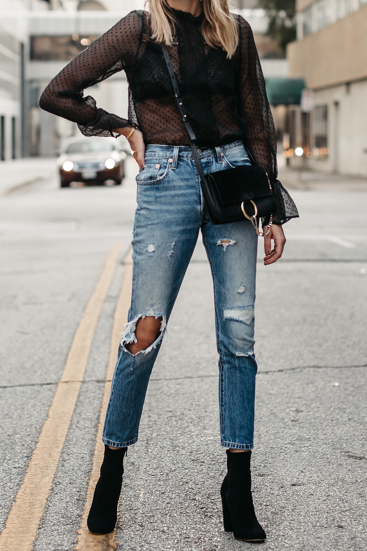 Anine Bing Black Lace Top Chloe Faye Black Handbag Denim Ripped Jeans Club Monaco Black Ankle Booties Fashion Jackson Dallas Blogger Fashion Blogger Street Style