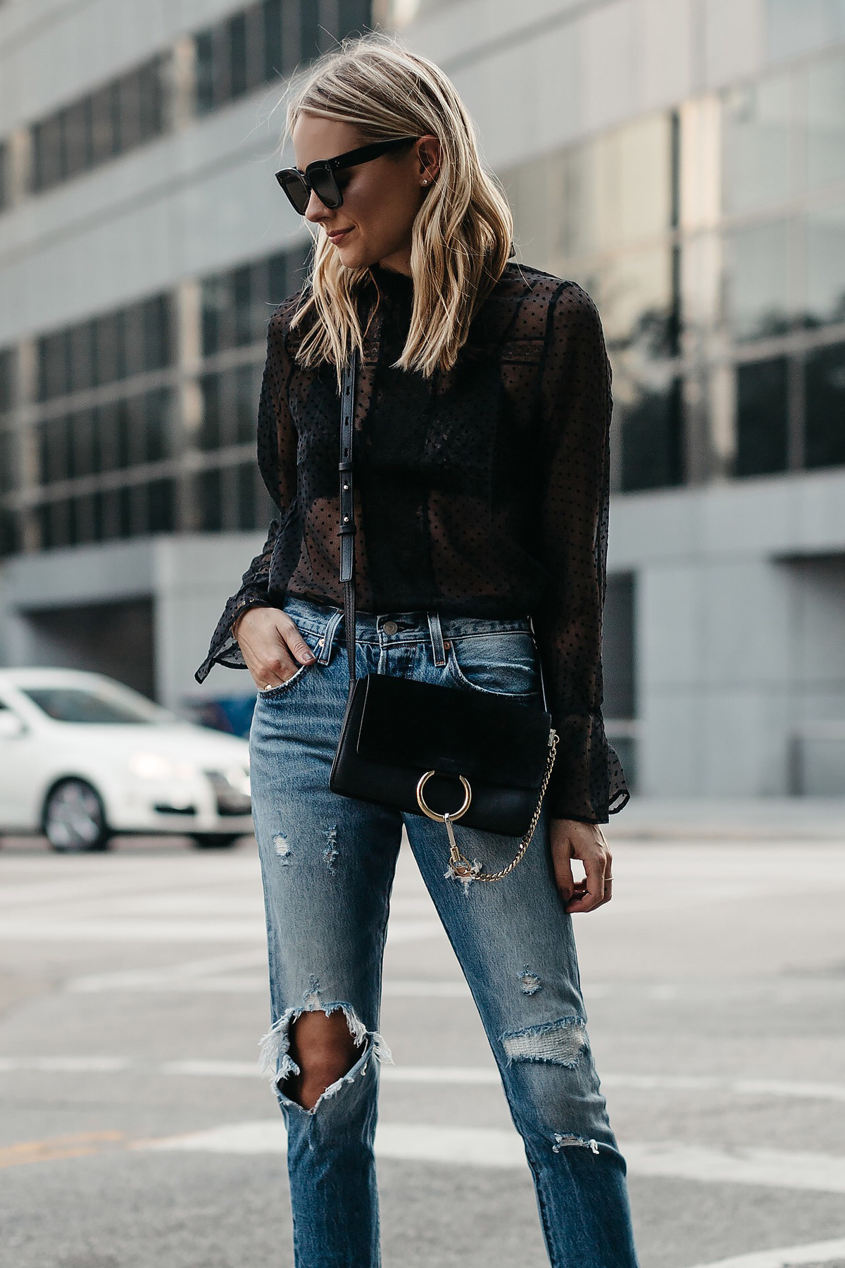 Blonde Woman Wearing Anine Bing Black Lace Top Chloe Faye Black Handbag Levis Denim Ripped Jeans Fashion Jackson Dallas Blogger Fashion Blogger Street Style