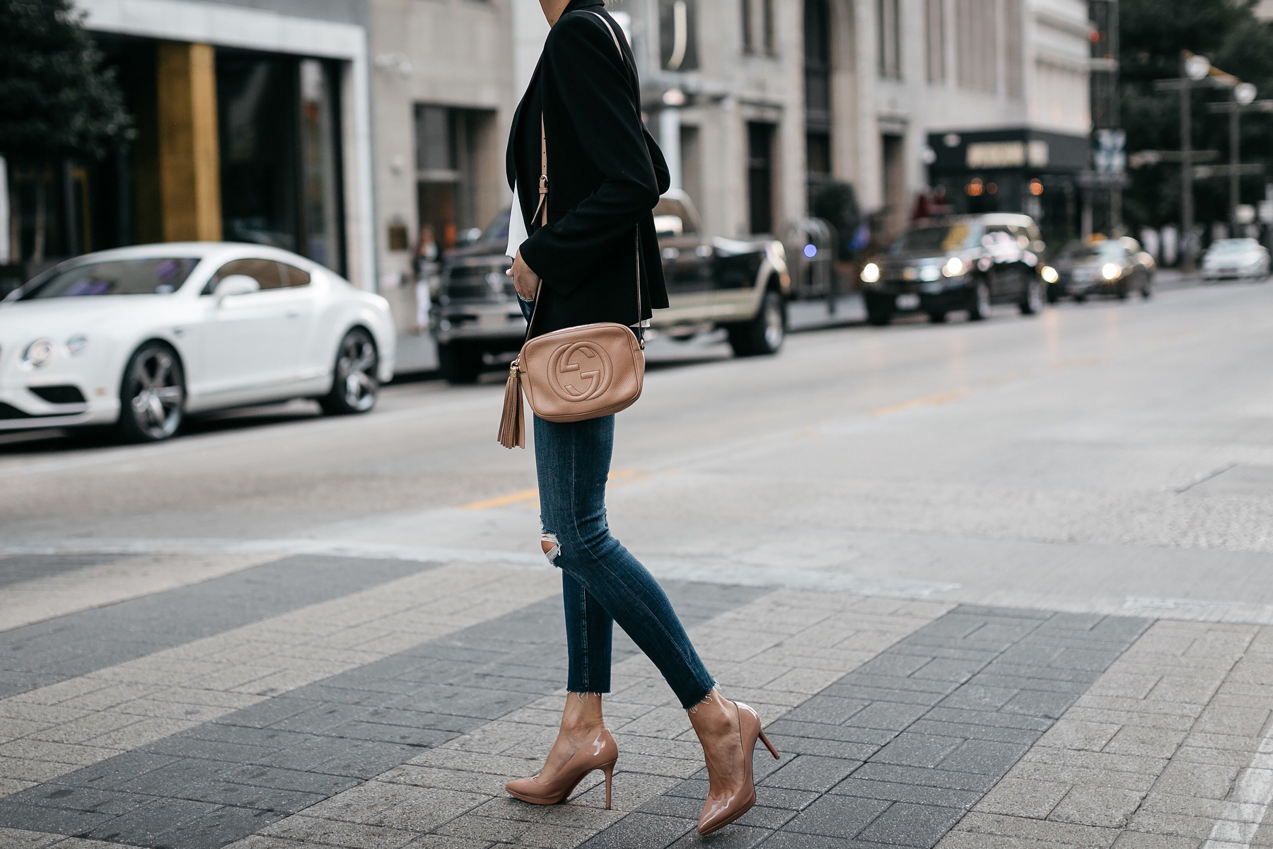 Black Blazer Denim Ripped Skinny Jeans Christian Louboutin Nude Pumps Gucci Soho Handbag Fashion Jackson Dallas Blogger Fashion Blogger Street Style