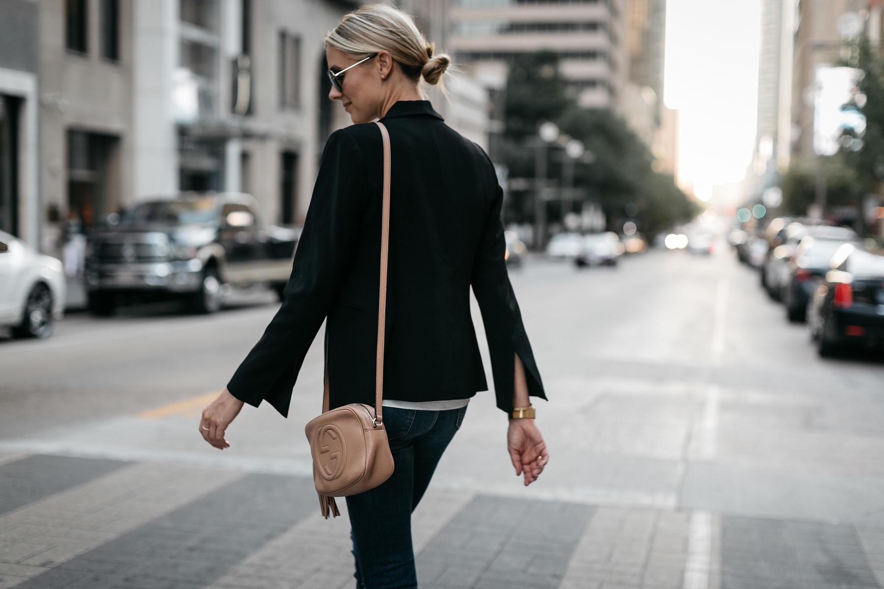 Blonde Woman Wearing Black Blazer Denim Ripped Skinny Jeans Gucci Soho Handbag Fashion Jackson Dallas Blogger Fashion Blogger Street Style