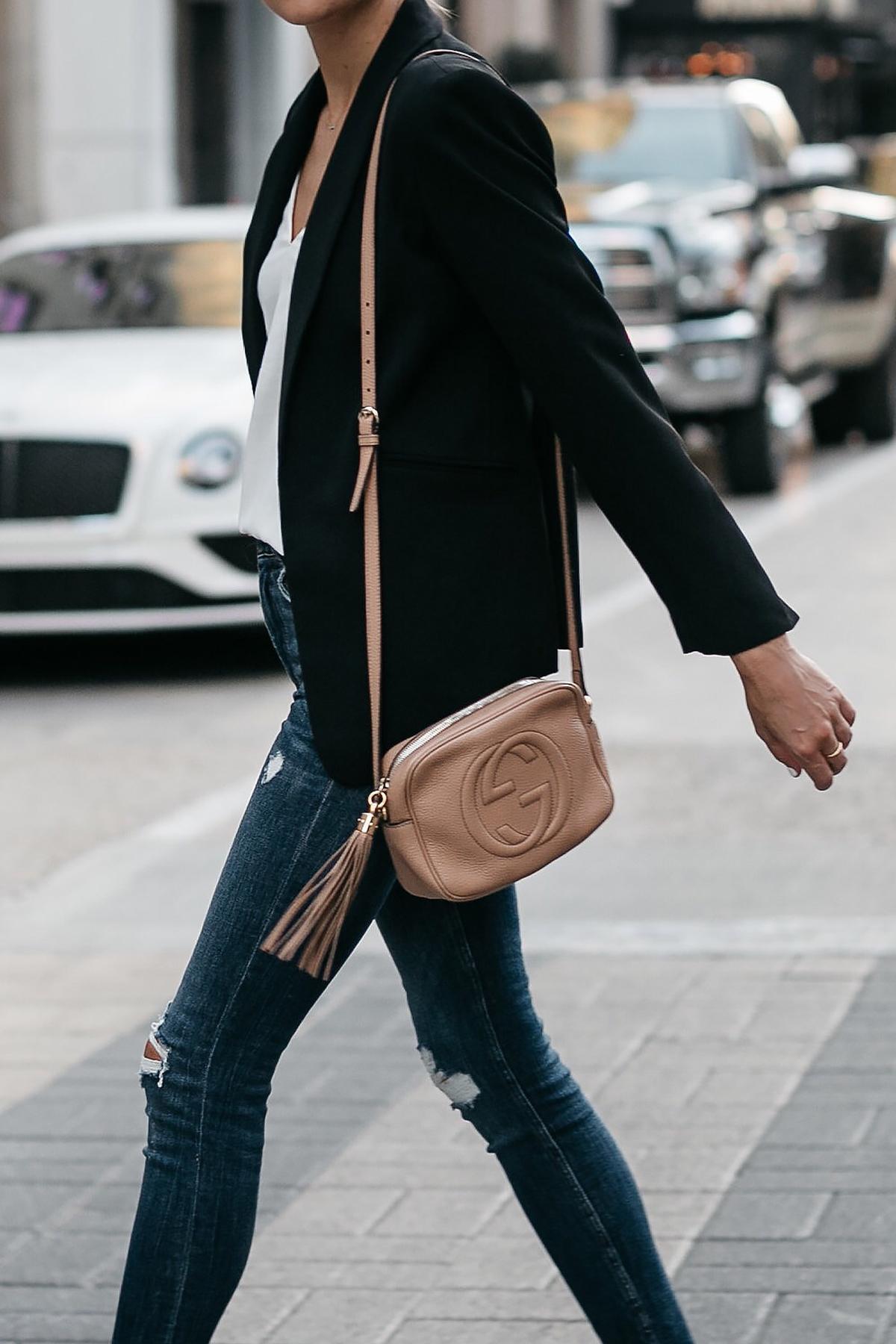 Black Blazer Denim Ripped Skinny Jeans Gucci Soho Handbag Fashion Jackson Dallas Blogger Fashion Blogger Street Style