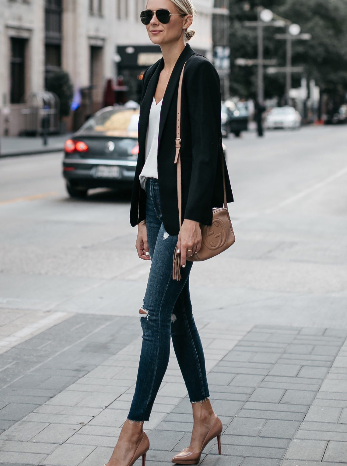 Blonde Woman Wearing Black Blazer White Tank Denim Ripped Skinny Jeans Christian Louboutin Nude Pumps Gucci Soho Handbag Fashion Jackson Dallas Blogger Fashion Blogger Street Style