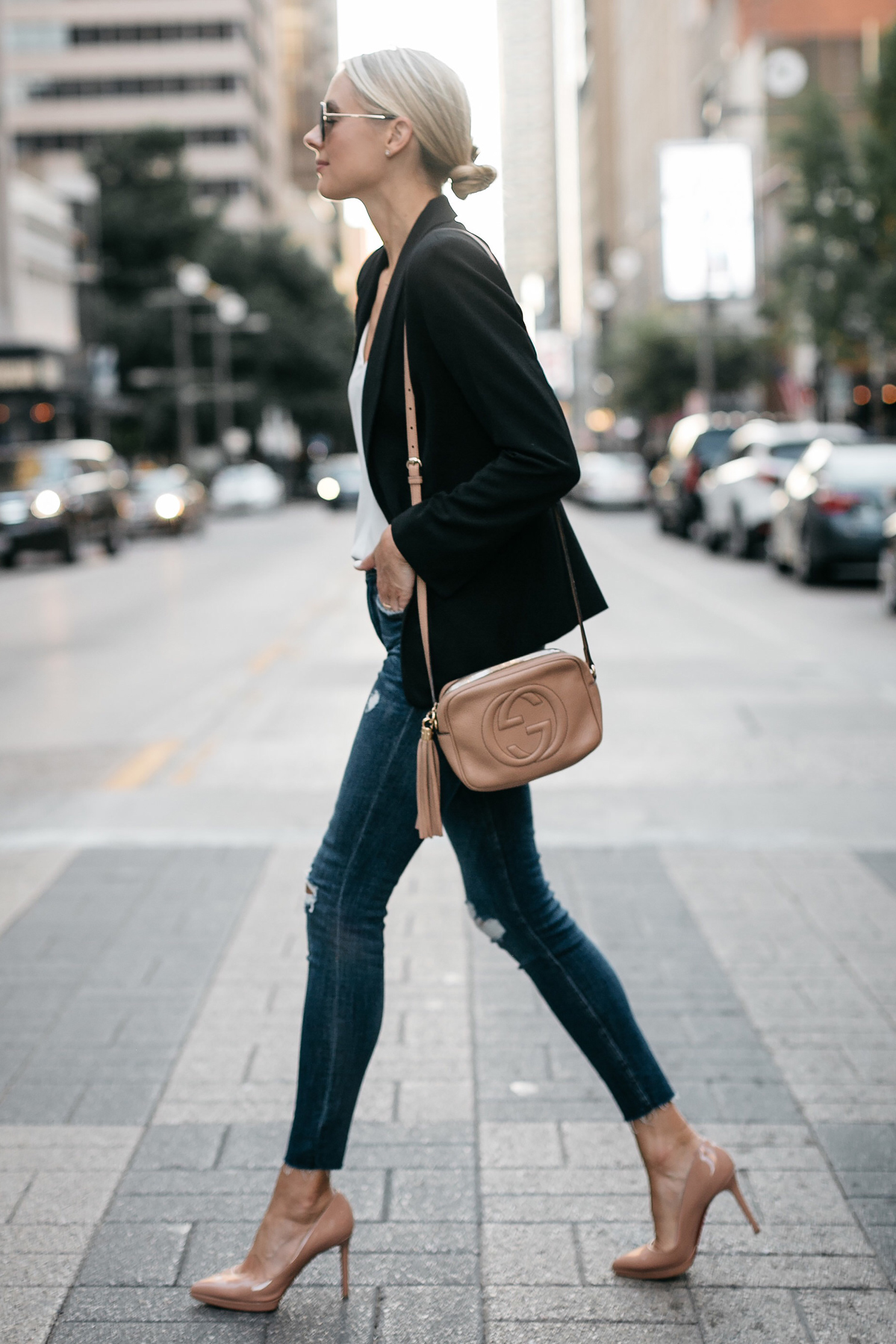 Blonde Woman Wearing Black Blazer White Tank Denim Ripped Skinny Jeans Christian Louboutin Nude Pumps Gucci Soho Handbag Fashion Jackson Dallas Blogger Fashion Blogger Street Style