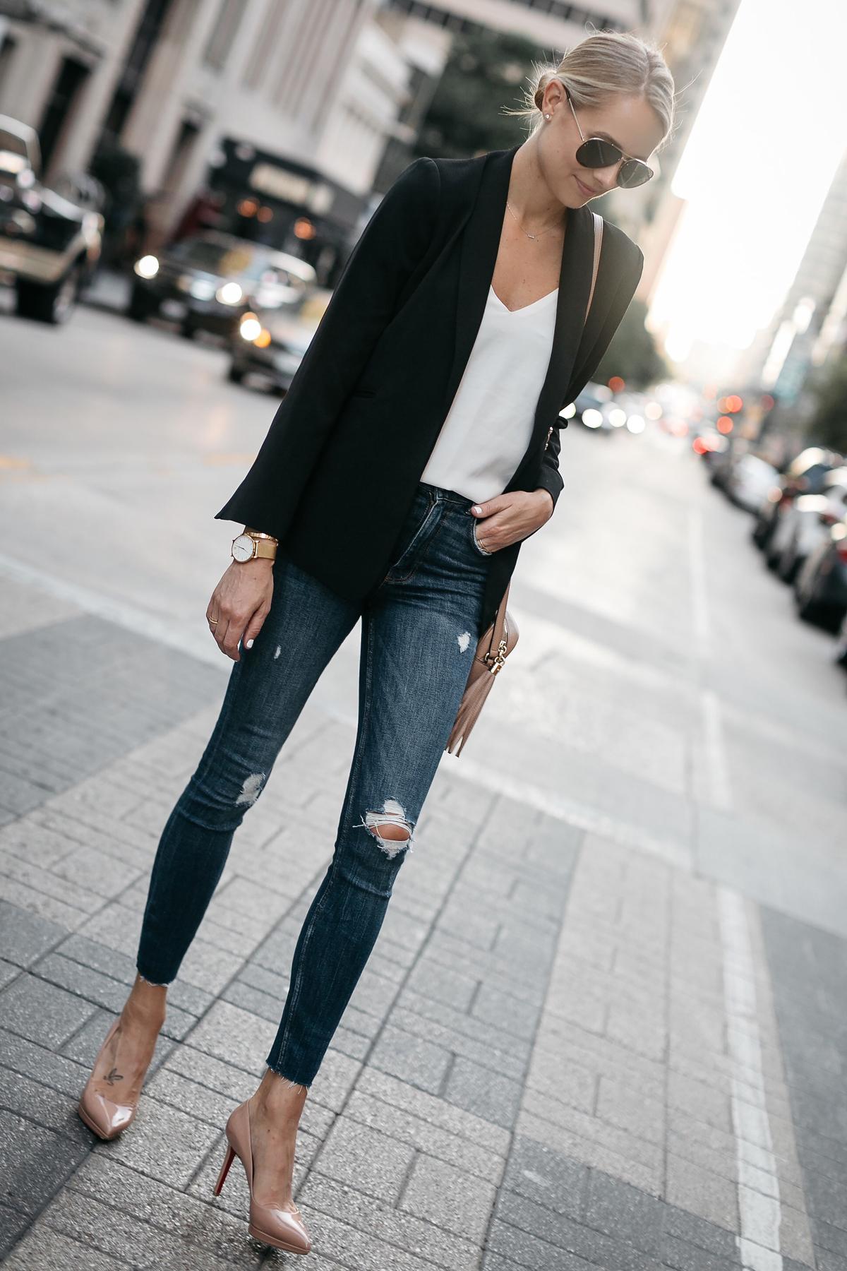 Blonde Woman Wearing Black Blazer White Tank Denim Ripped Skinny Jeans Christian Louboutin Nude Pumps Fashion Jackson Dallas Blogger Fashion Blogger Street Style