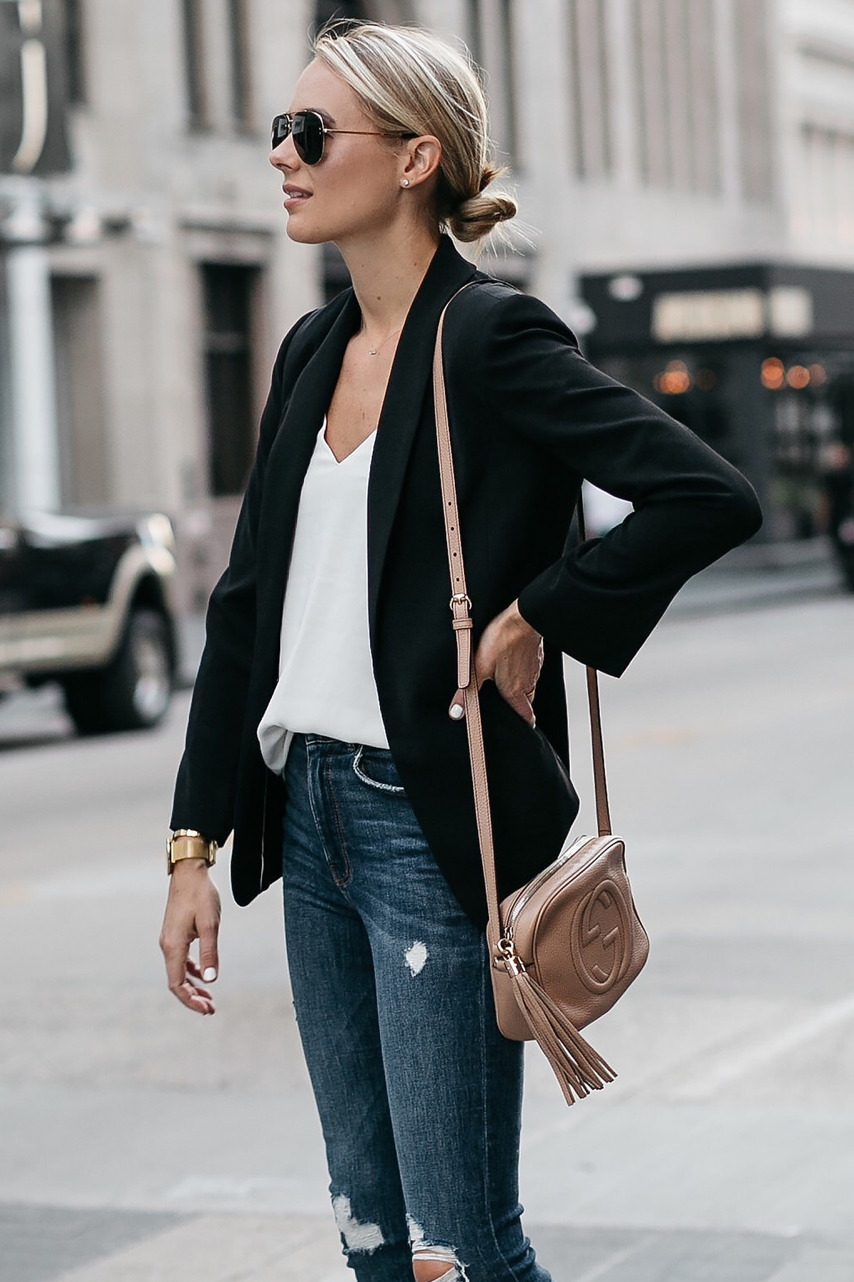 Blonde Woman Wearing Black Blazer White Tank Denim Ripped Skinny Jeans Gucci Soho Handbag Fashion Jackson Dallas Blogger Fashion Blogger Street Style