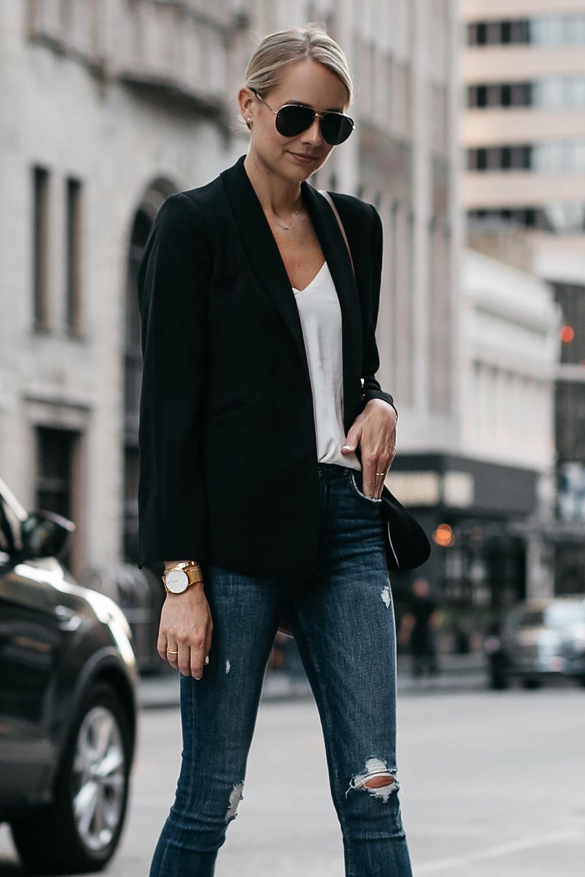 Blonde Woman Wearing Black Blazer White Tank Denim Ripped Skinny Jeans Fashion Jackson Dallas Blogger Fashion Blogger Street Style