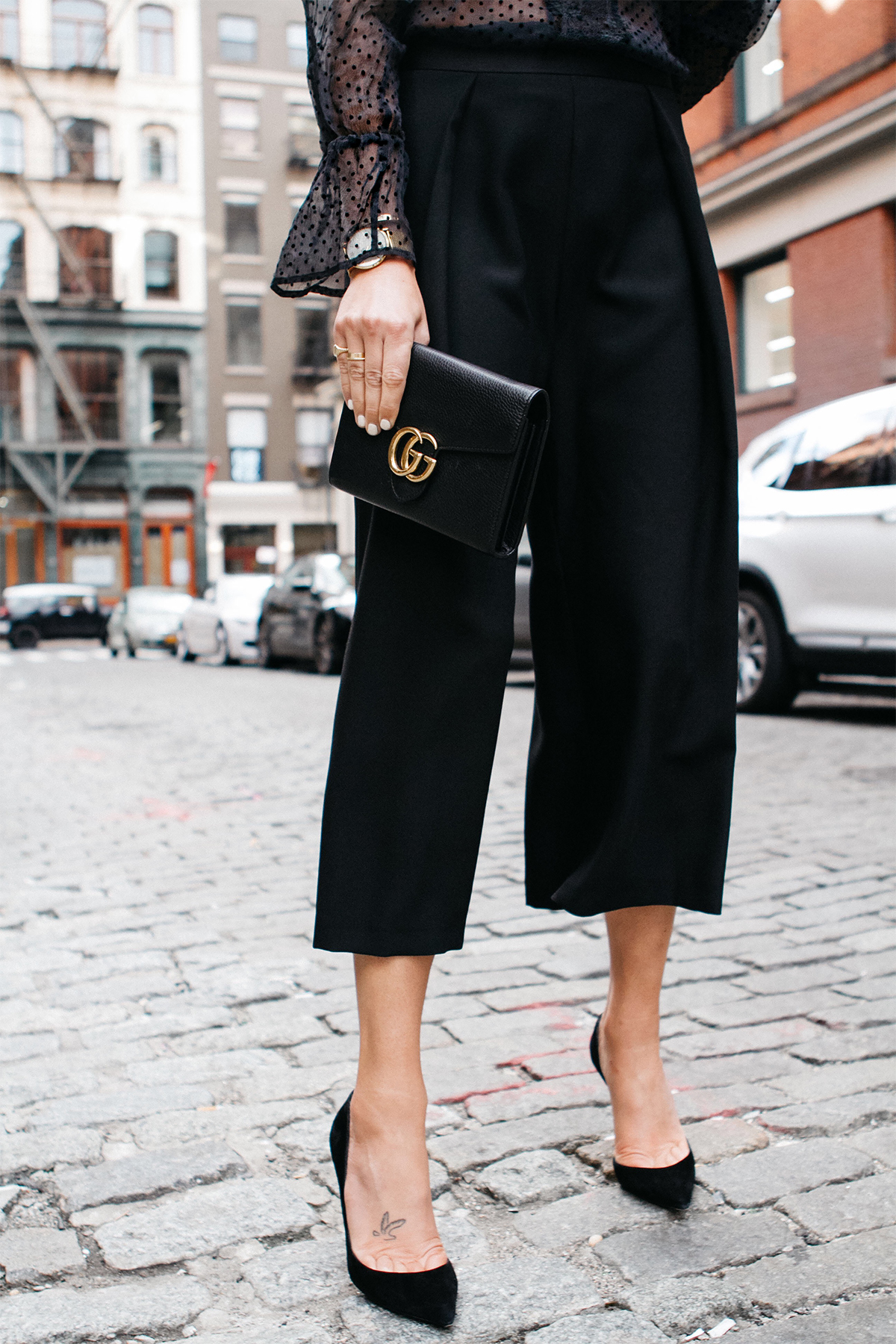 Black Culottes Gucci Marmont Handbag Christian Louboutin Black Pumps Fashion Jackson Dallas Blogger Fashion Blogger Street Style NYFW