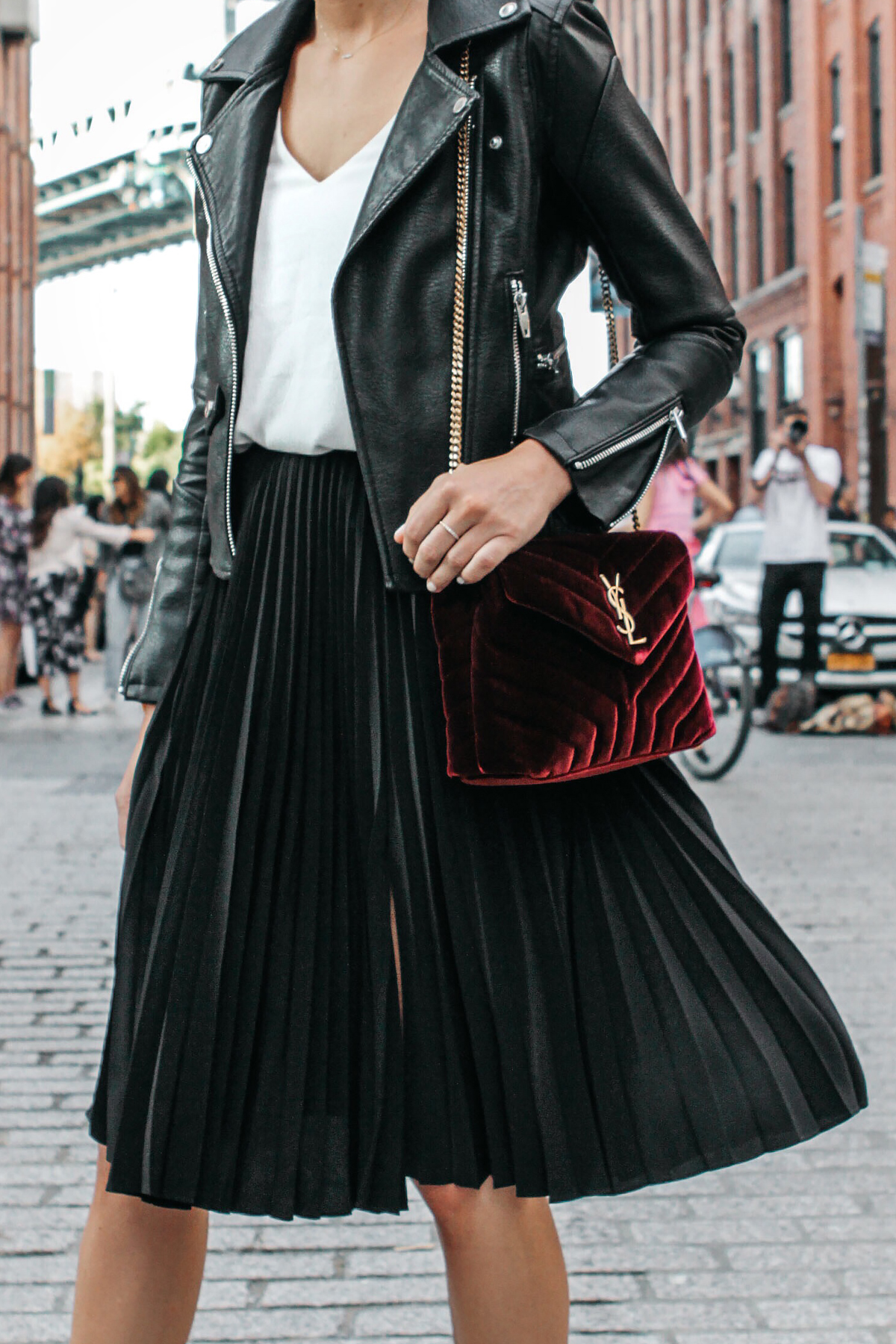 Black Leather Jacket Black Pleated Midi Skirt Saint Laurent Burgundy Velvet Bag Fashion Jackson Dallas Blogger Fashion Blogger Street Style NFYW Dumbo Bridge